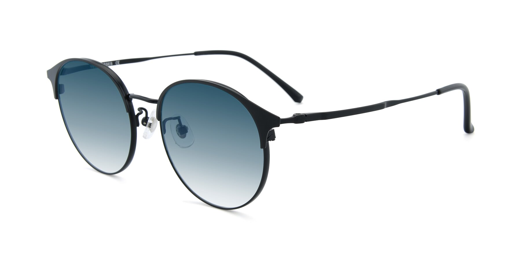 Angle of XC-8031 in Matte Black with Blue Gradient Lenses