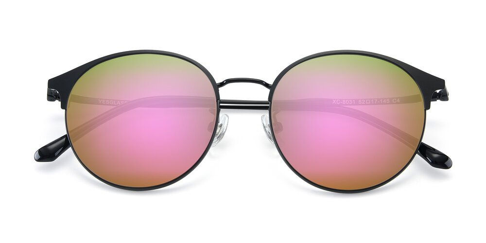 Matte Black Browline Metal Round Mirrored Sunglasses With Pink Sunwear Lenses
