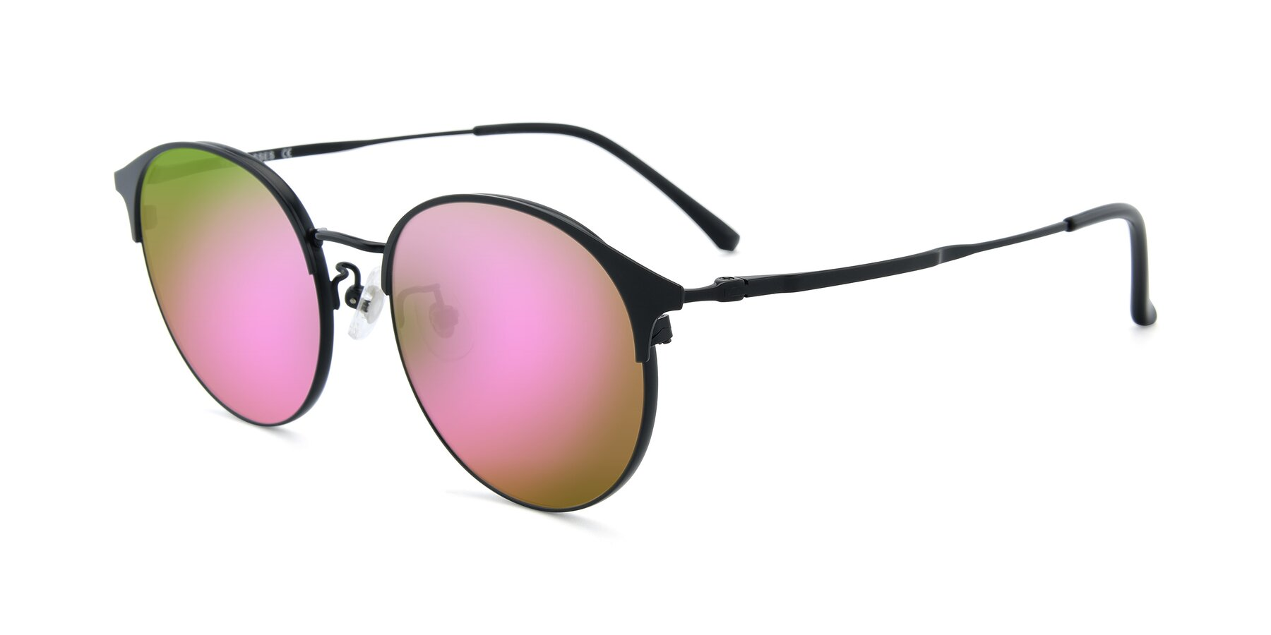 Angle of XC-8031 in Matte Black with Pink Mirrored Lenses