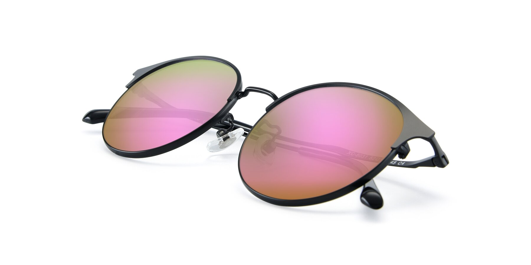 View of XC-8031 in Matte Black with Pink Mirrored Lenses