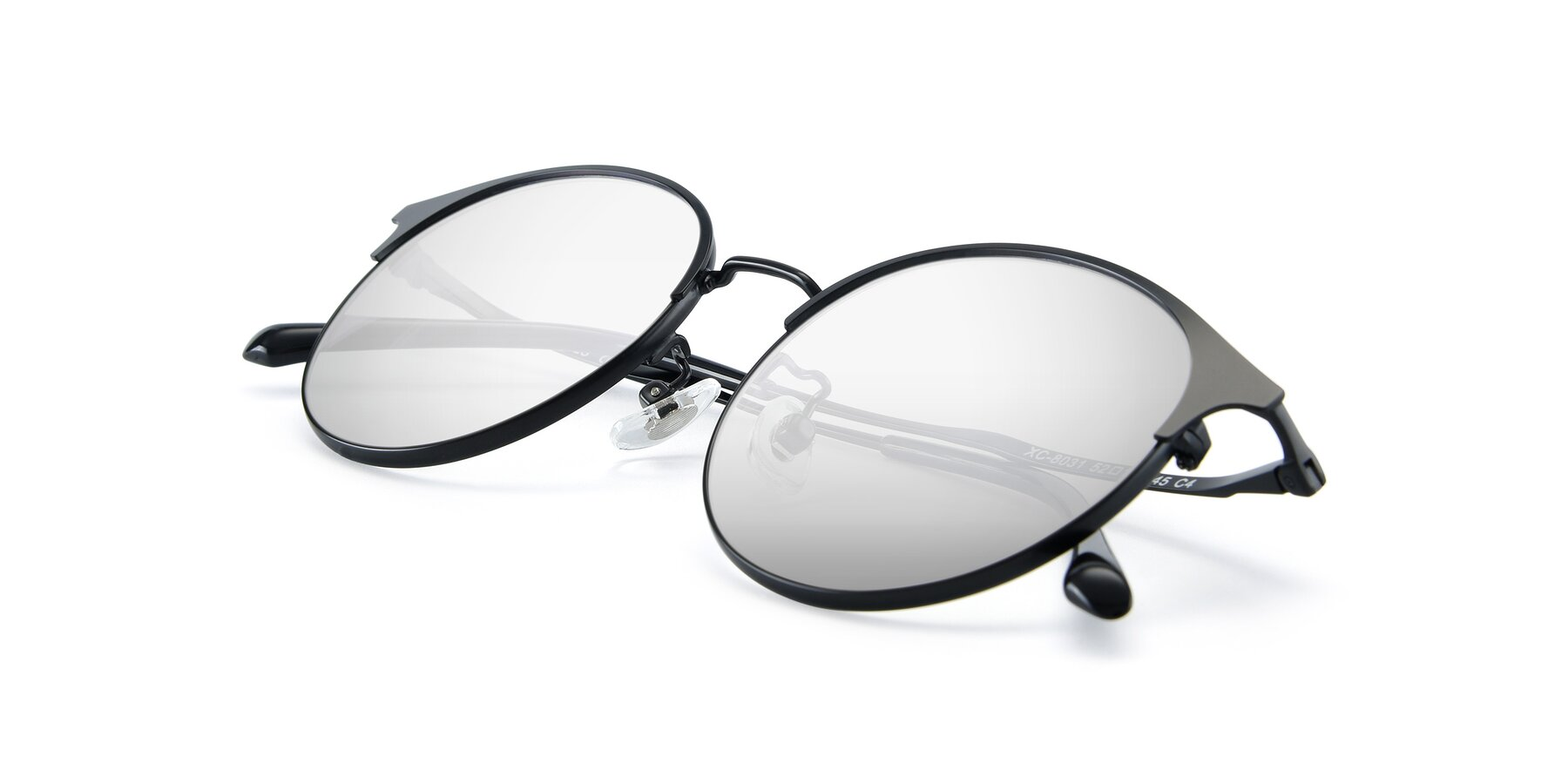 View of XC-8031 in Matte Black with Silver Mirrored Lenses