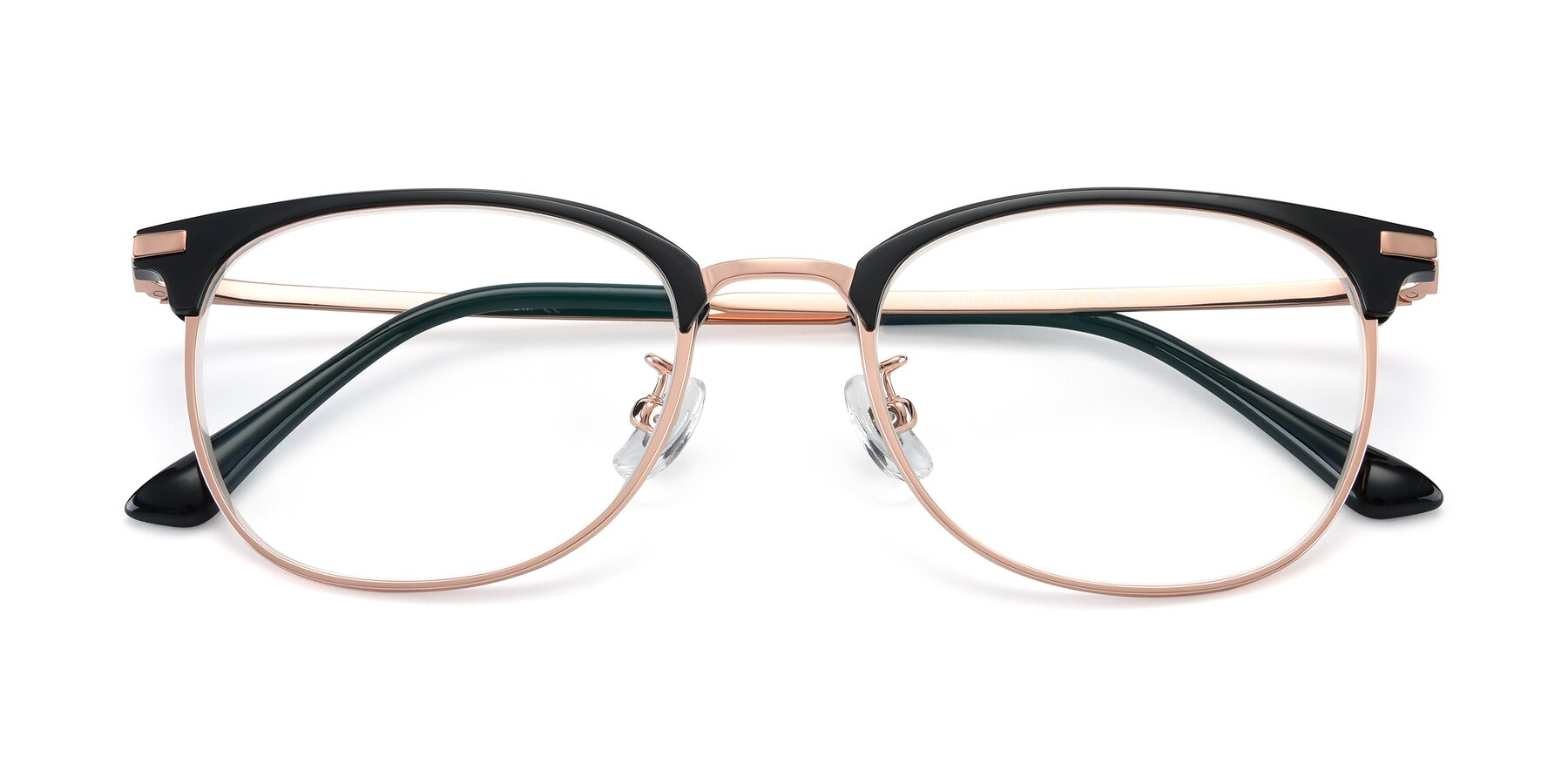 Folded Front of XC-5002 in Black-Rose Gold with Clear Eyeglass Lenses