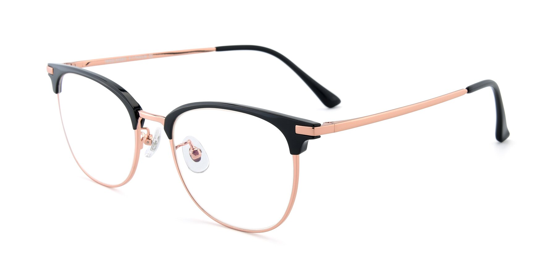 Angle of XC-5002 in Black-Rose Gold with Clear Eyeglass Lenses