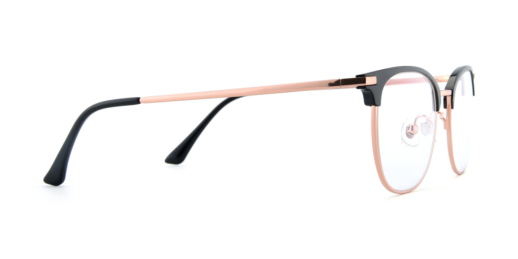 Side of XC-5002 in Black-Rose Gold with Clear Eyeglass Lenses