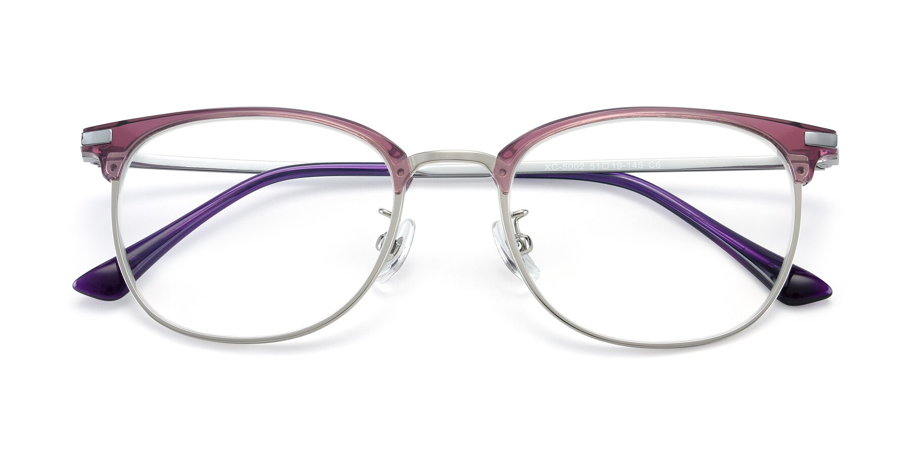 Folded Front of XC-5002 in Purple-Silver with Clear Blue Light Blocking Lenses