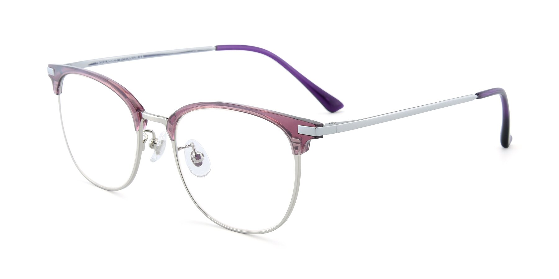 Angle of XC-5002 in Purple-Silver with Clear Blue Light Blocking Lenses