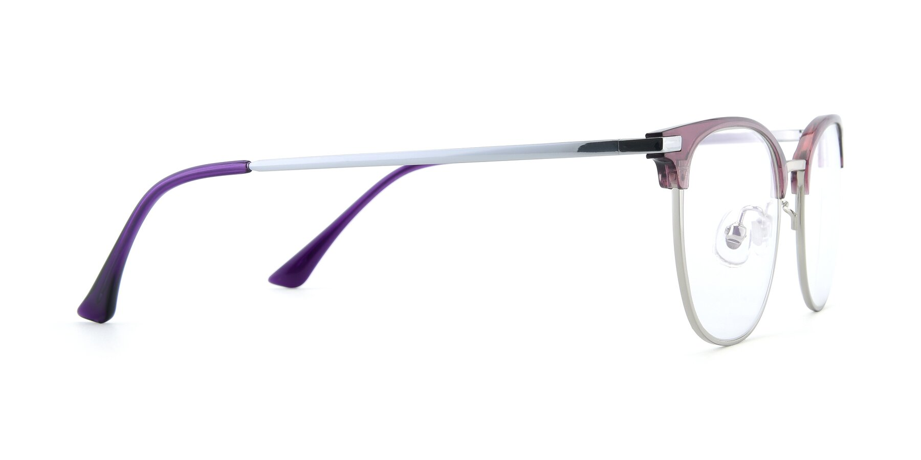 Side of XC-5002 in Purple-Silver with Clear Blue Light Blocking Lenses