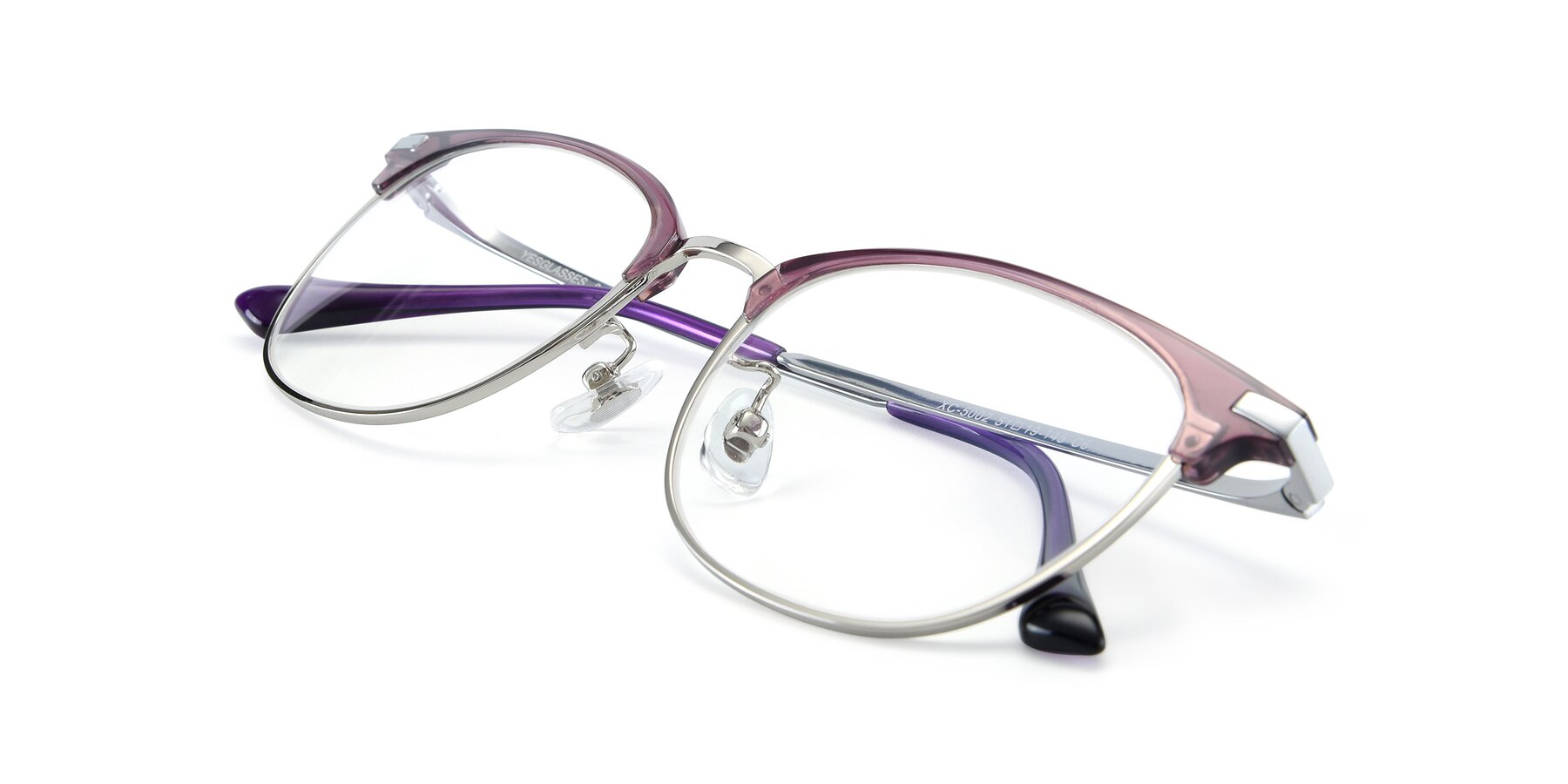 View of XC-5002 in Purple-Silver with Clear Blue Light Blocking Lenses