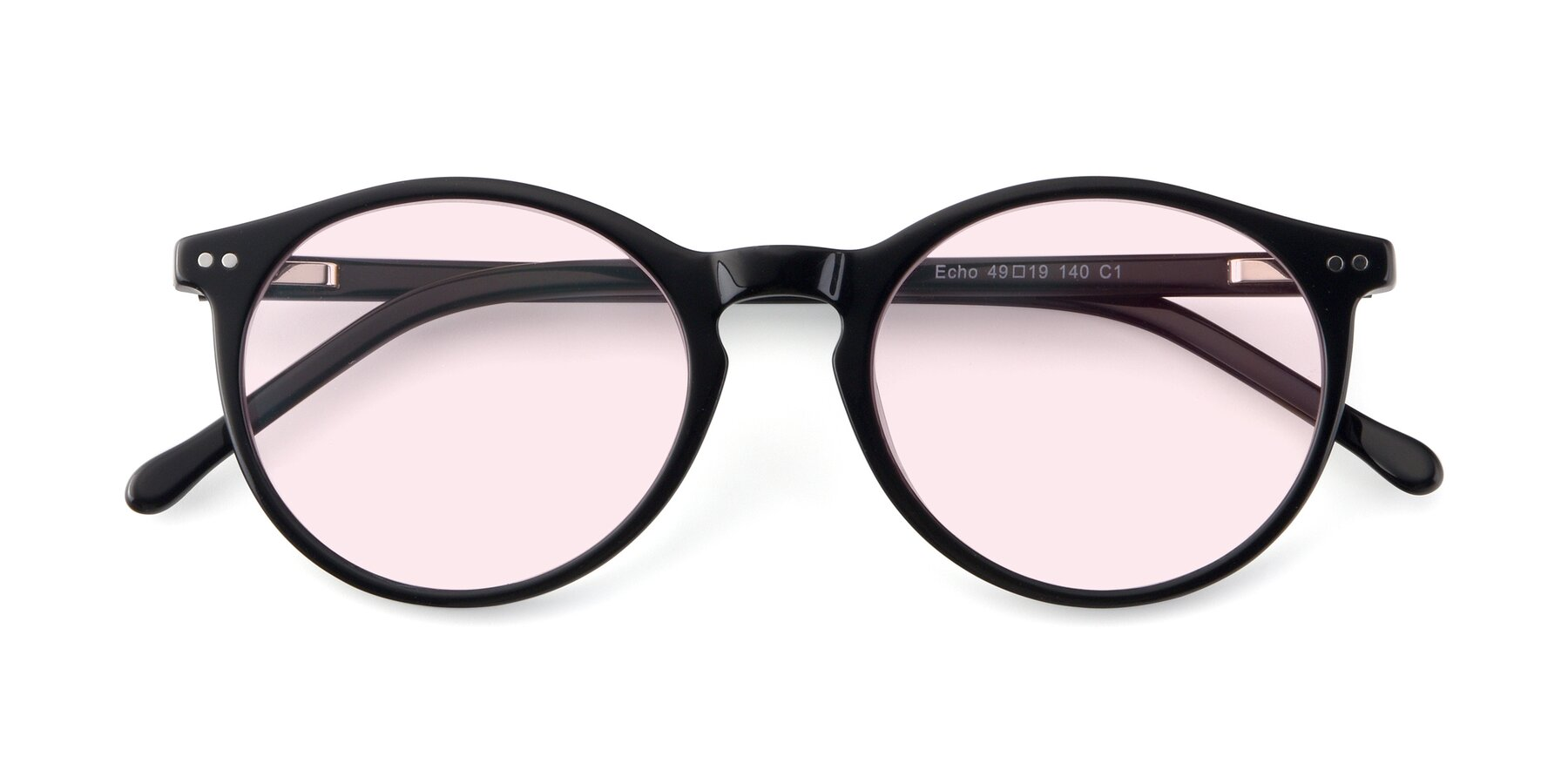 Folded Front of JS9026A in Black with Light Pink Tinted Lenses