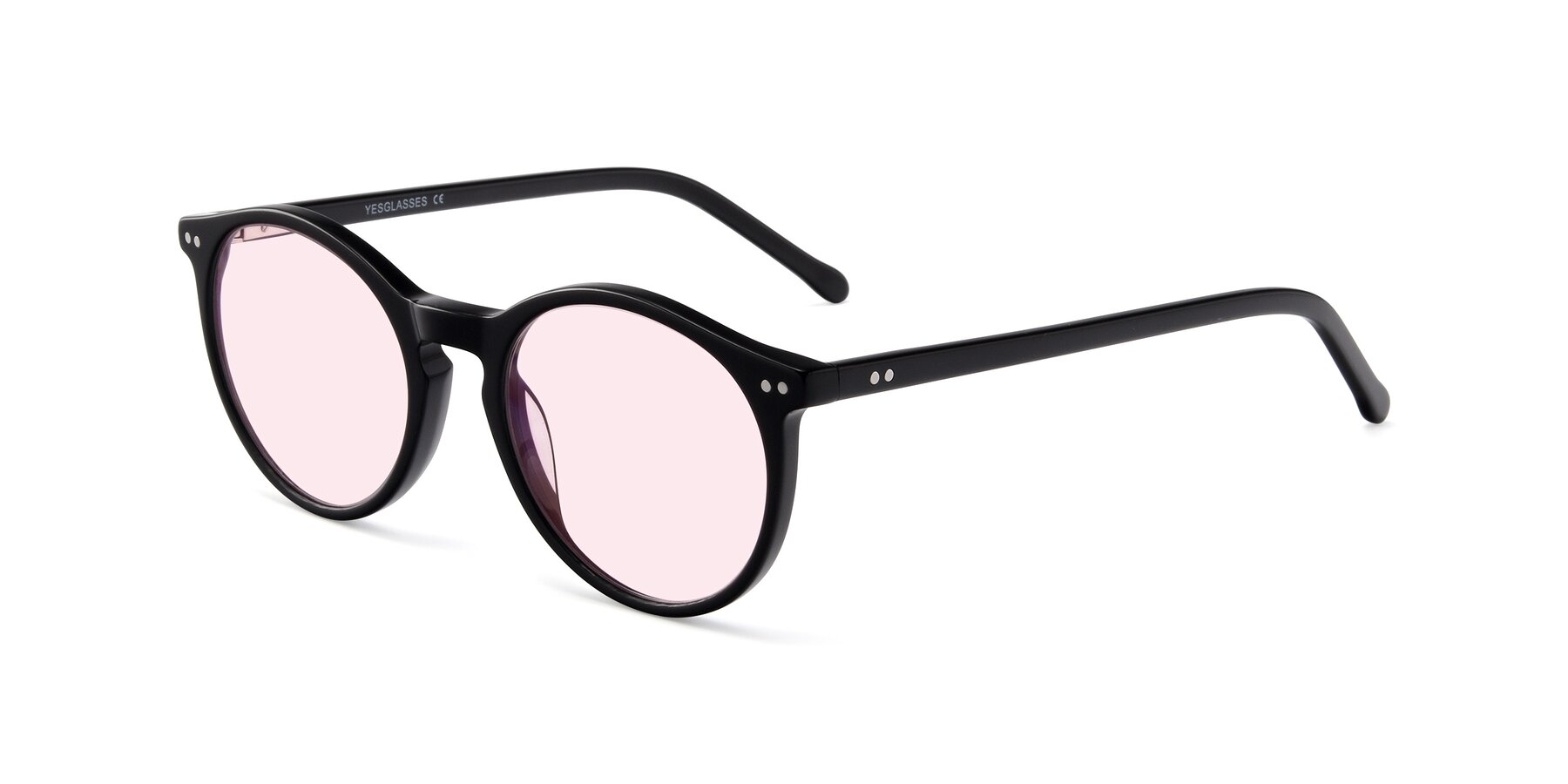 Angle of JS9026A in Black with Light Pink Tinted Lenses
