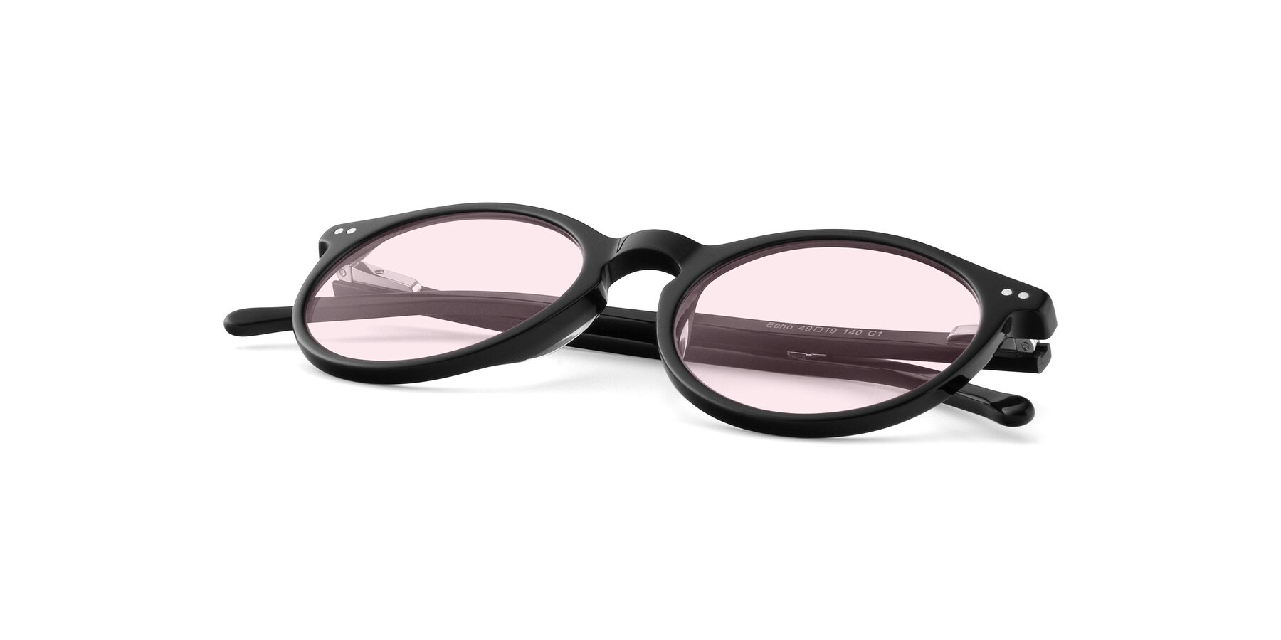 View of JS9026A in Black with Light Pink Tinted Lenses