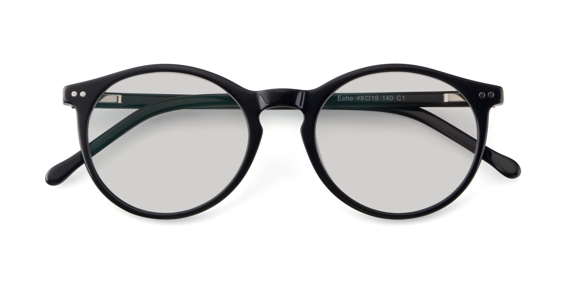 Folded Front of JS9026A in Black with Light Gray Tinted Lenses