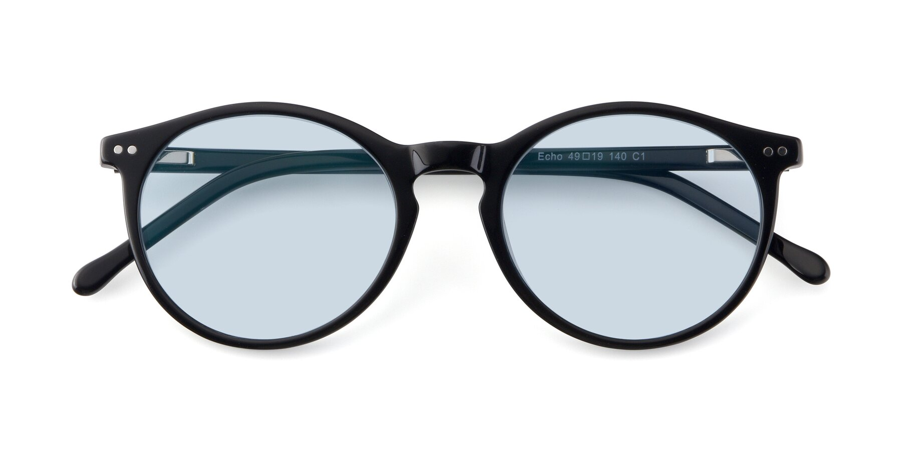 Folded Front of JS9026A in Black with Light Blue Tinted Lenses
