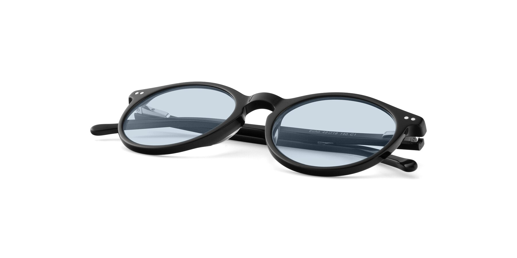 View of JS9026A in Black with Light Blue Tinted Lenses