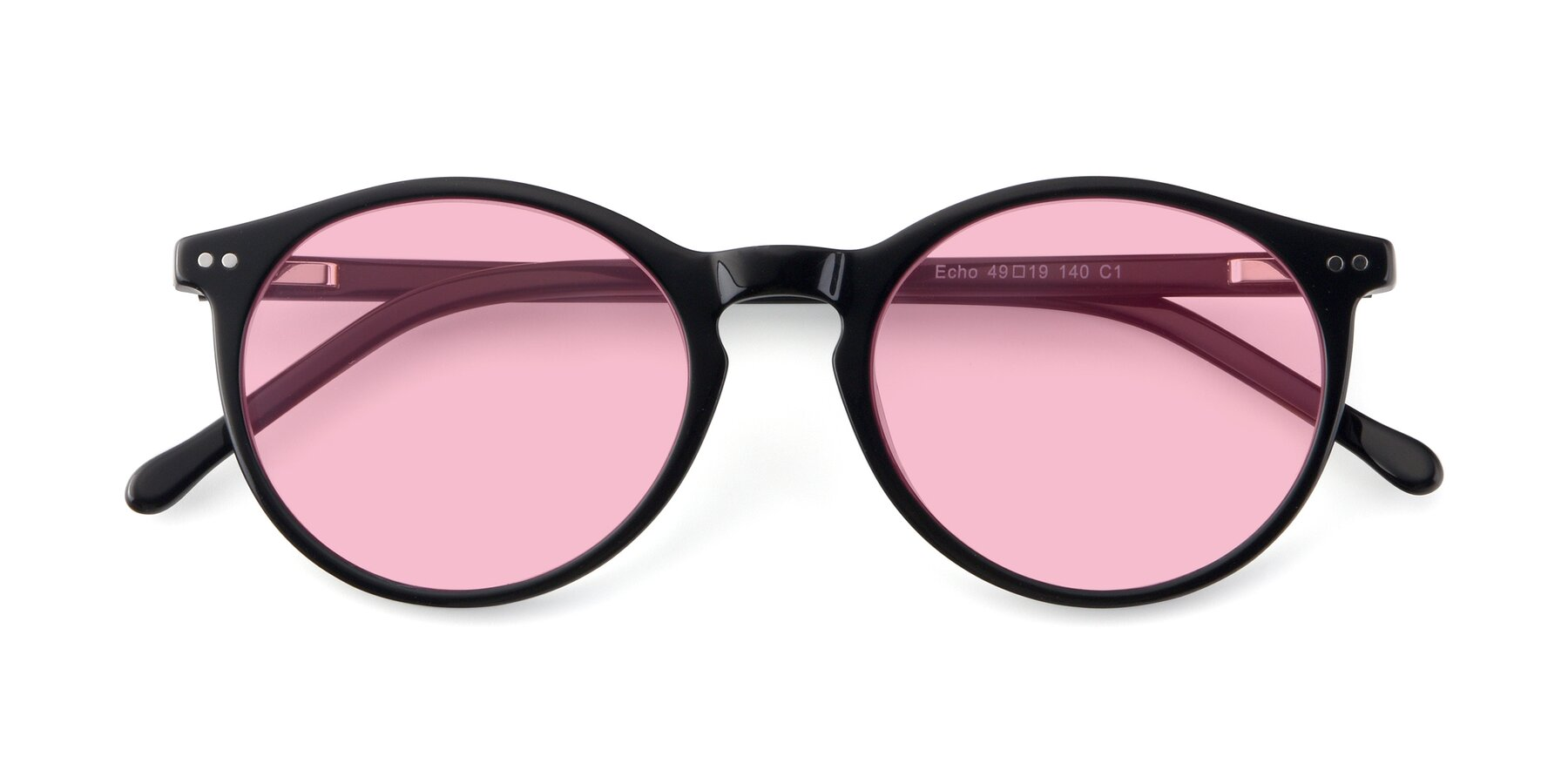 Folded Front of JS9026A in Black with Medium Pink Tinted Lenses