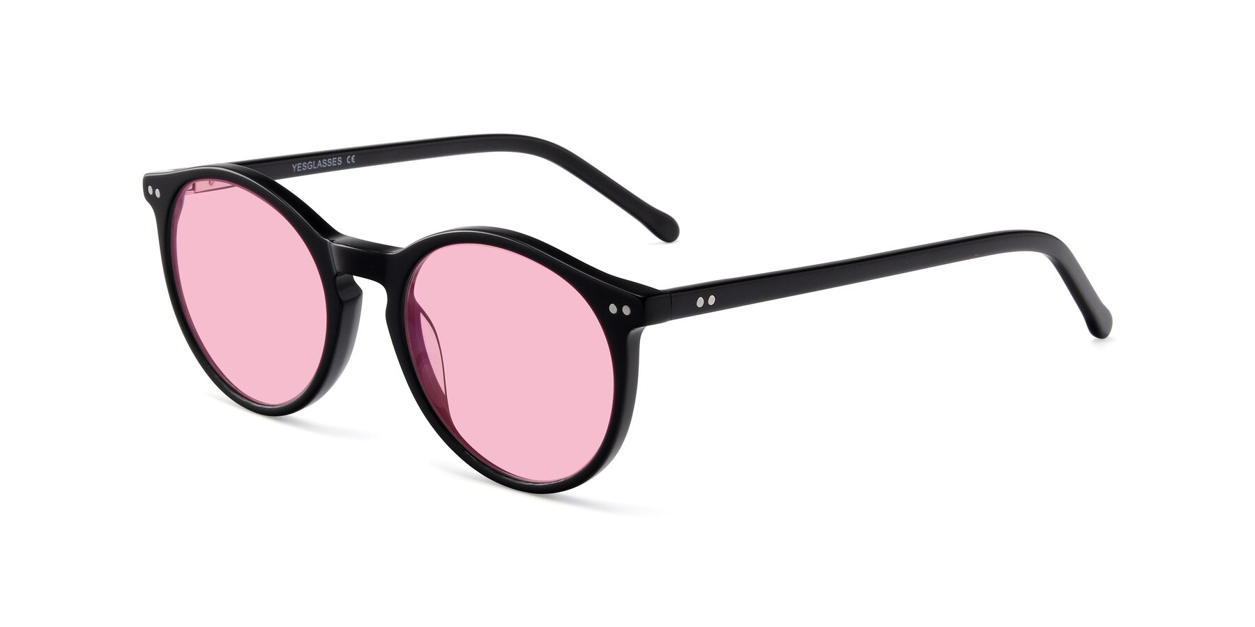 Angle of JS9026A in Black with Medium Pink Tinted Lenses
