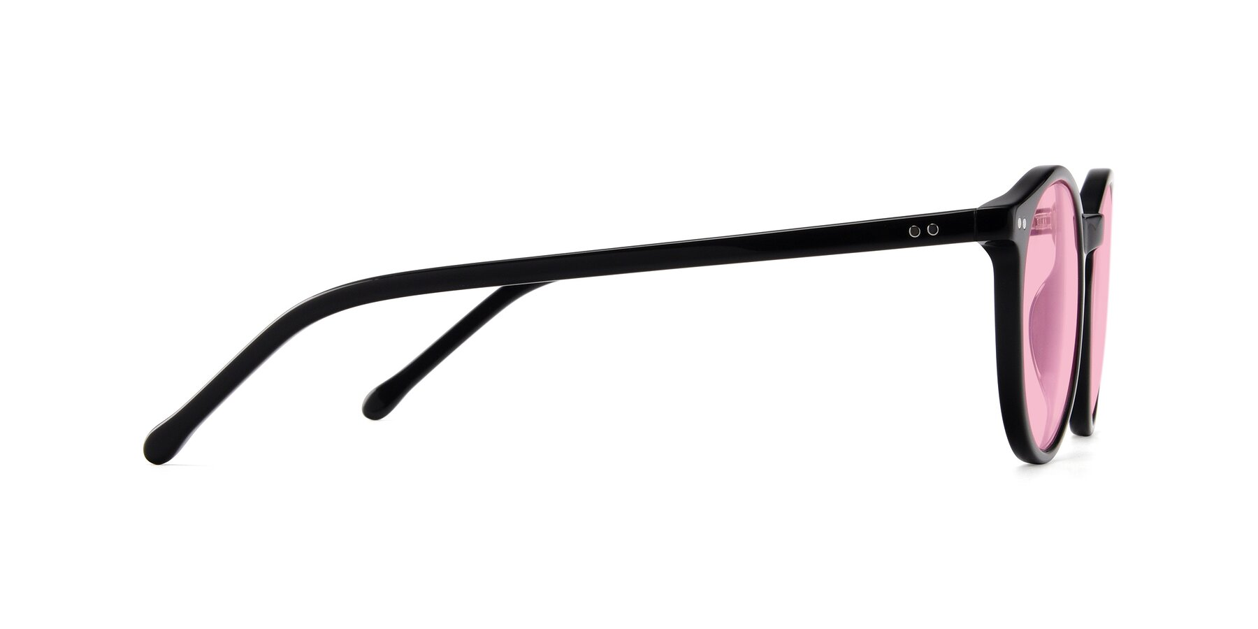 Side of JS9026A in Black with Medium Pink Tinted Lenses