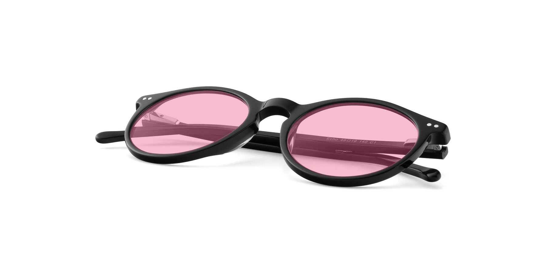 View of JS9026A in Black with Medium Pink Tinted Lenses