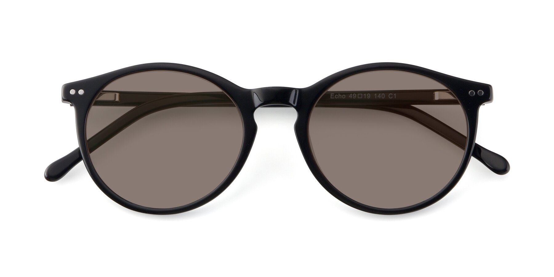 Folded Front of JS9026A in Black with Medium Brown Tinted Lenses
