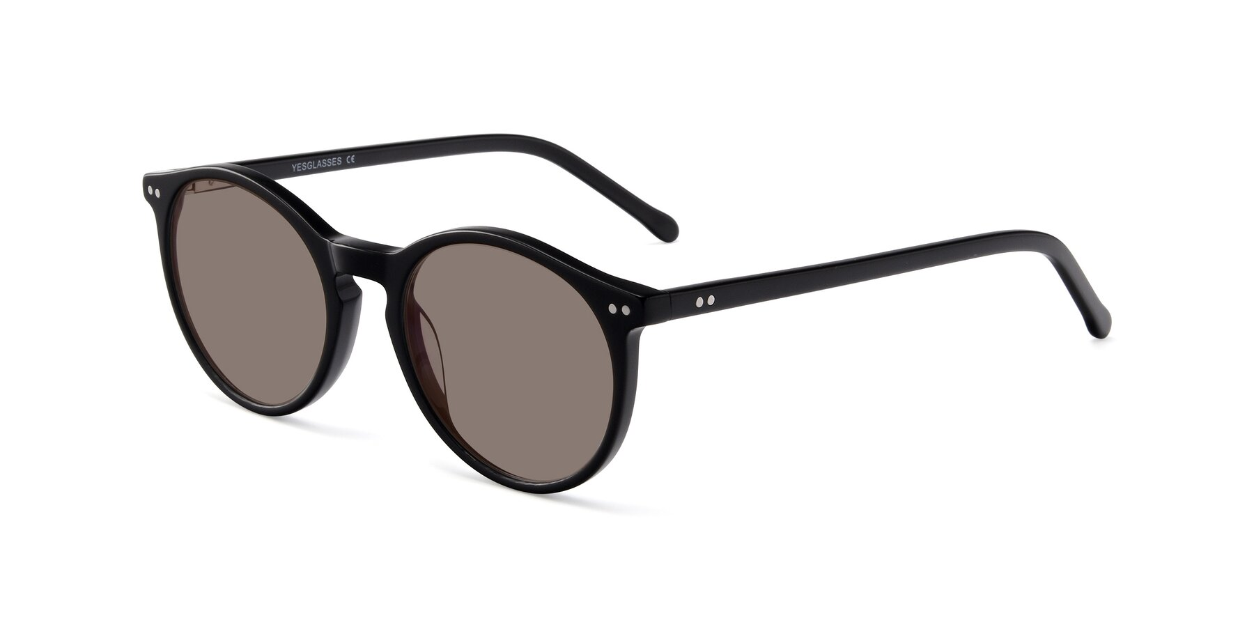 Angle of JS9026A in Black with Medium Brown Tinted Lenses