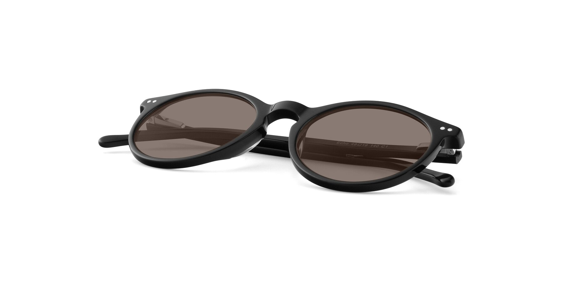 View of JS9026A in Black with Medium Brown Tinted Lenses