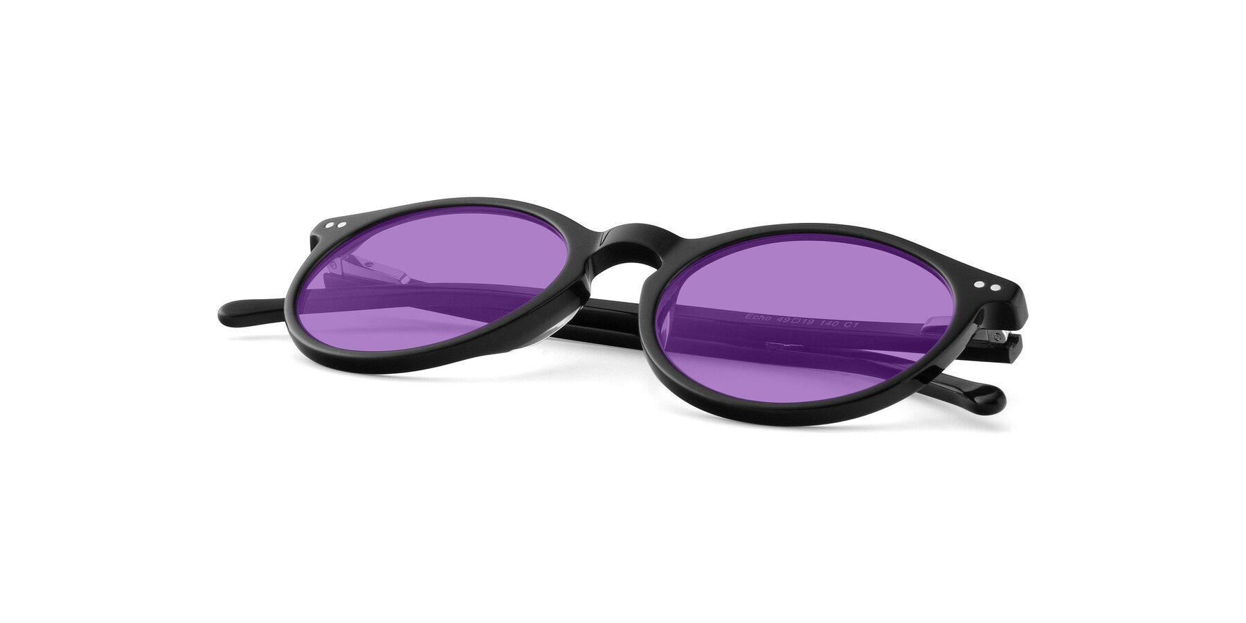 View of JS9026A in Black with Medium Purple Tinted Lenses