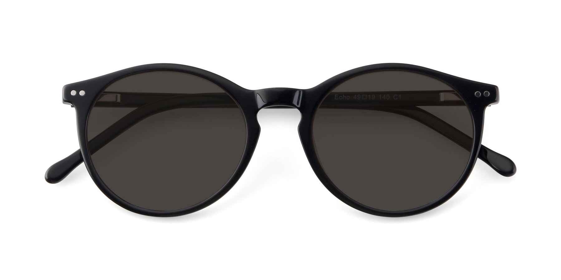 Folded Front of Echo in Black with Gray Tinted Lenses