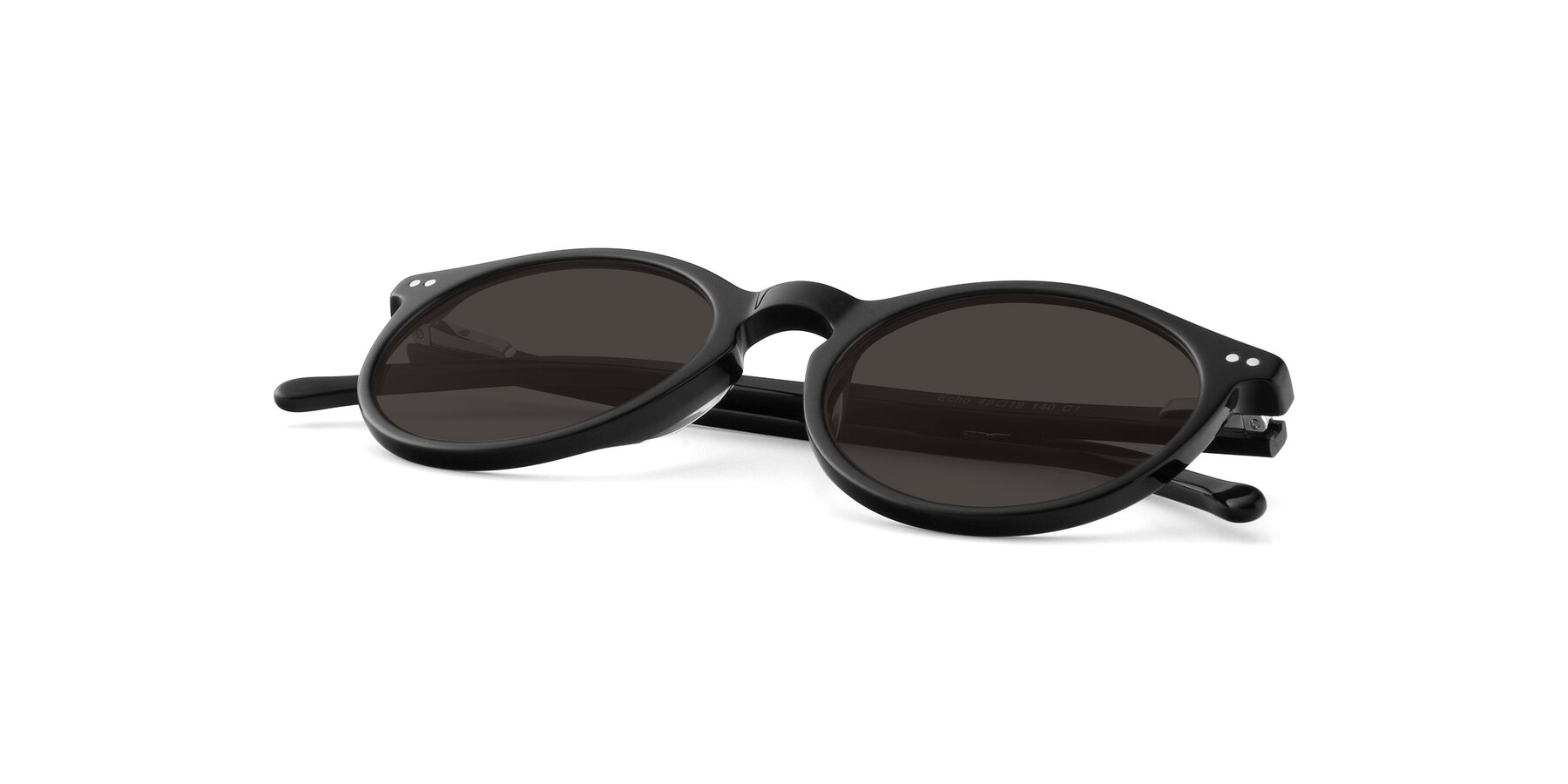 View of Echo in Black with Gray Tinted Lenses
