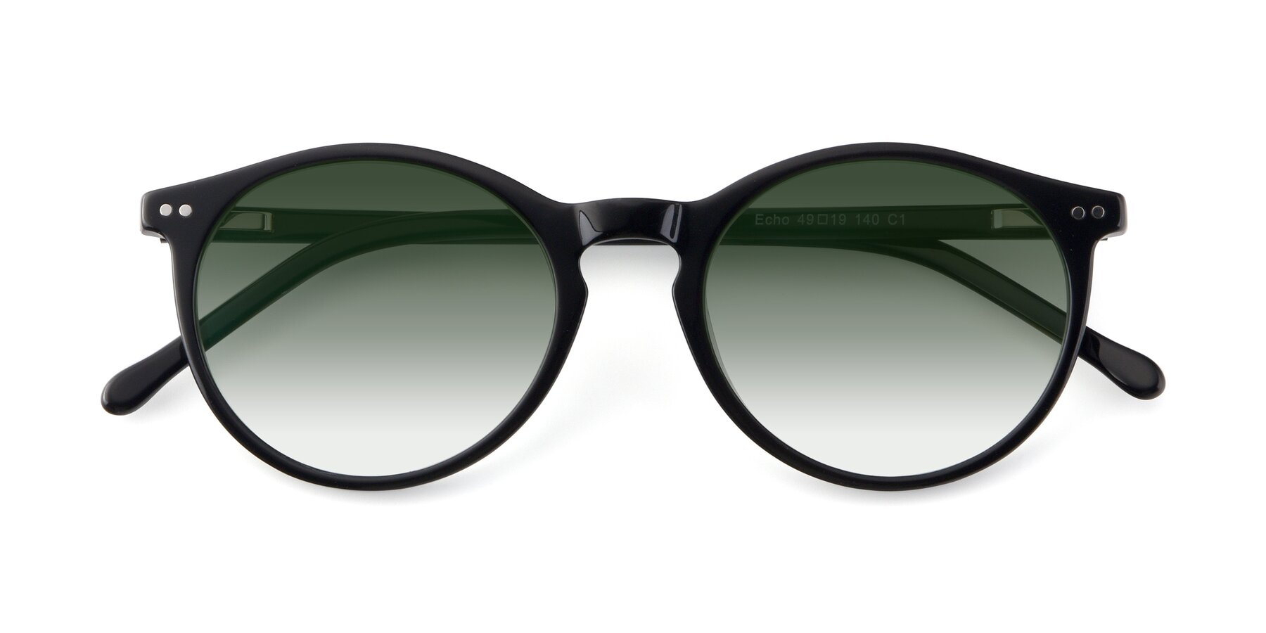 Folded Front of JS9026A in Black with Green Gradient Lenses
