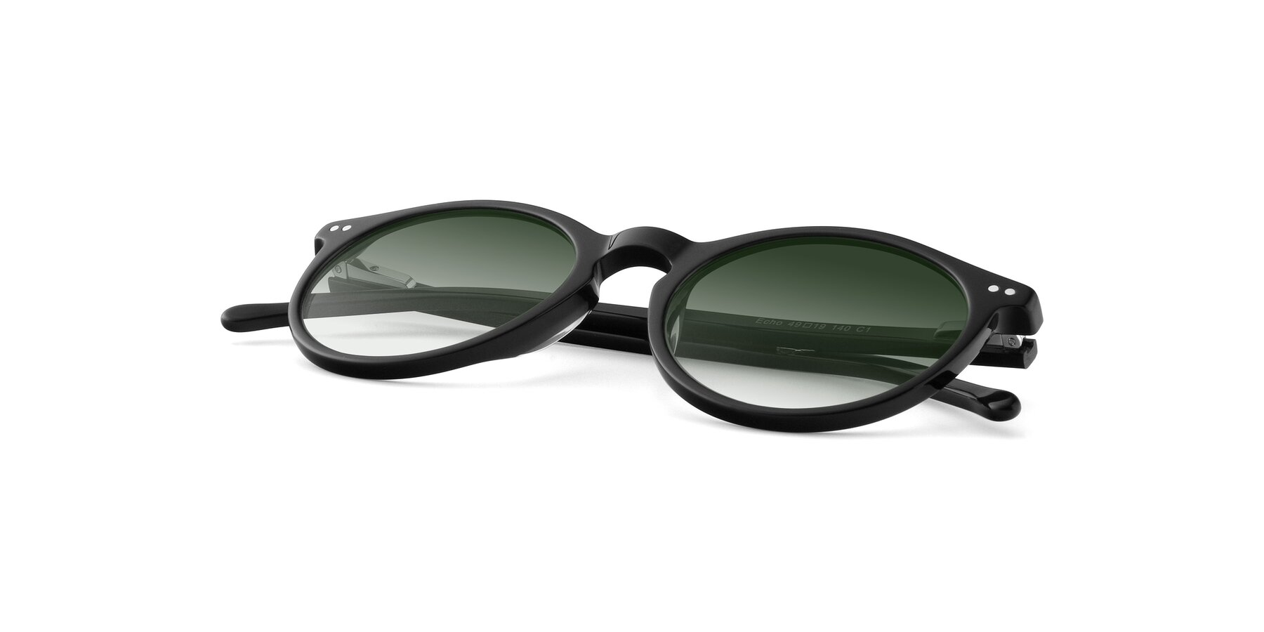 View of JS9026A in Black with Green Gradient Lenses