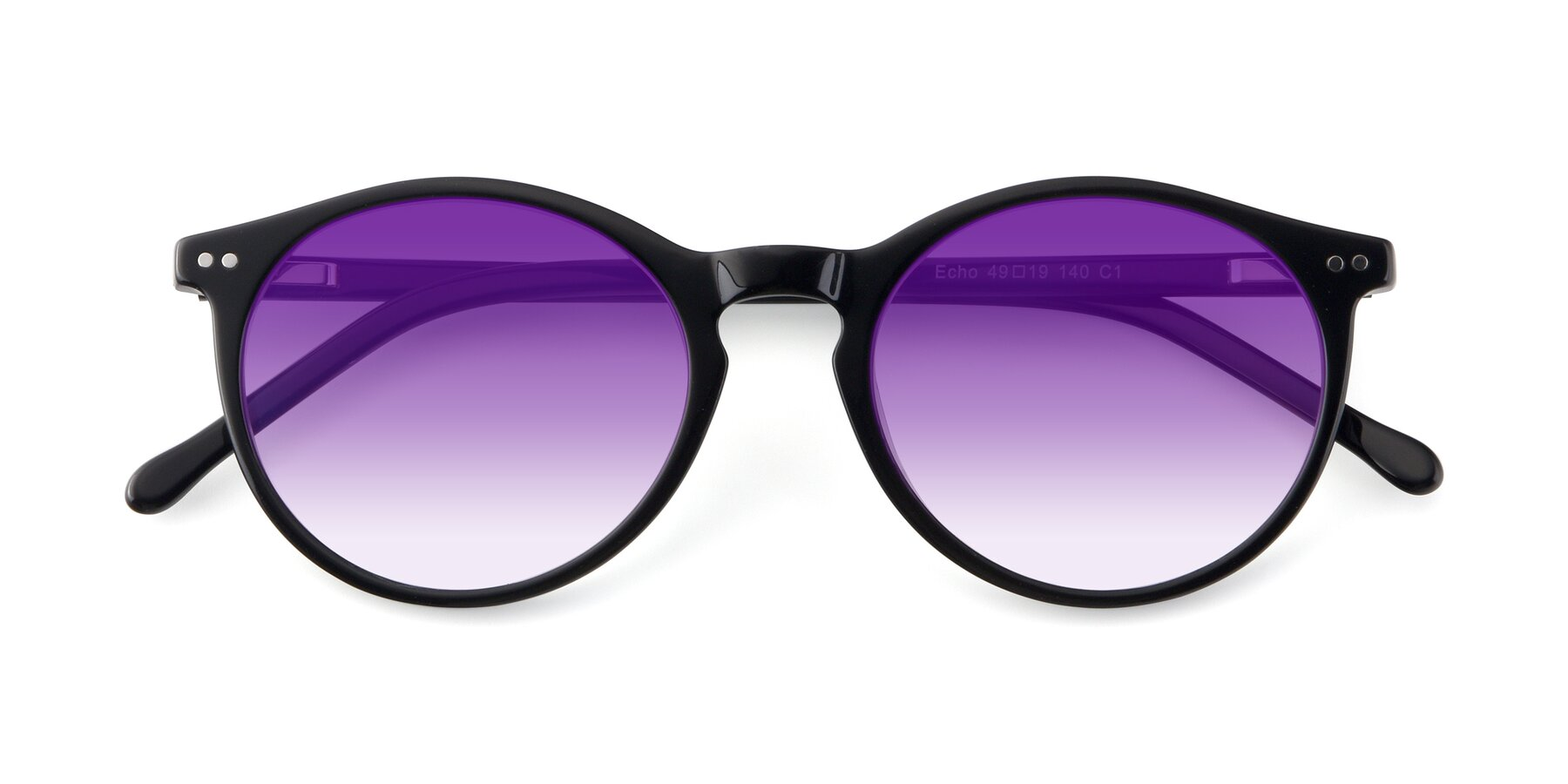 Folded Front of JS9026A in Black with Purple Gradient Lenses
