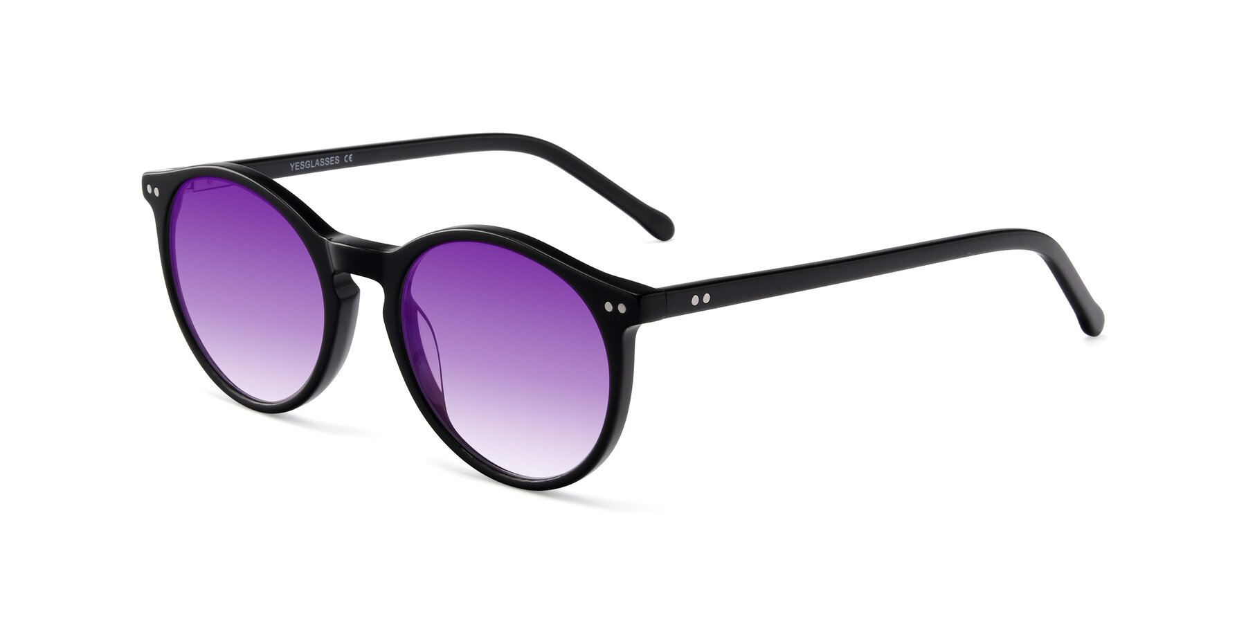 Angle of JS9026A in Black with Purple Gradient Lenses
