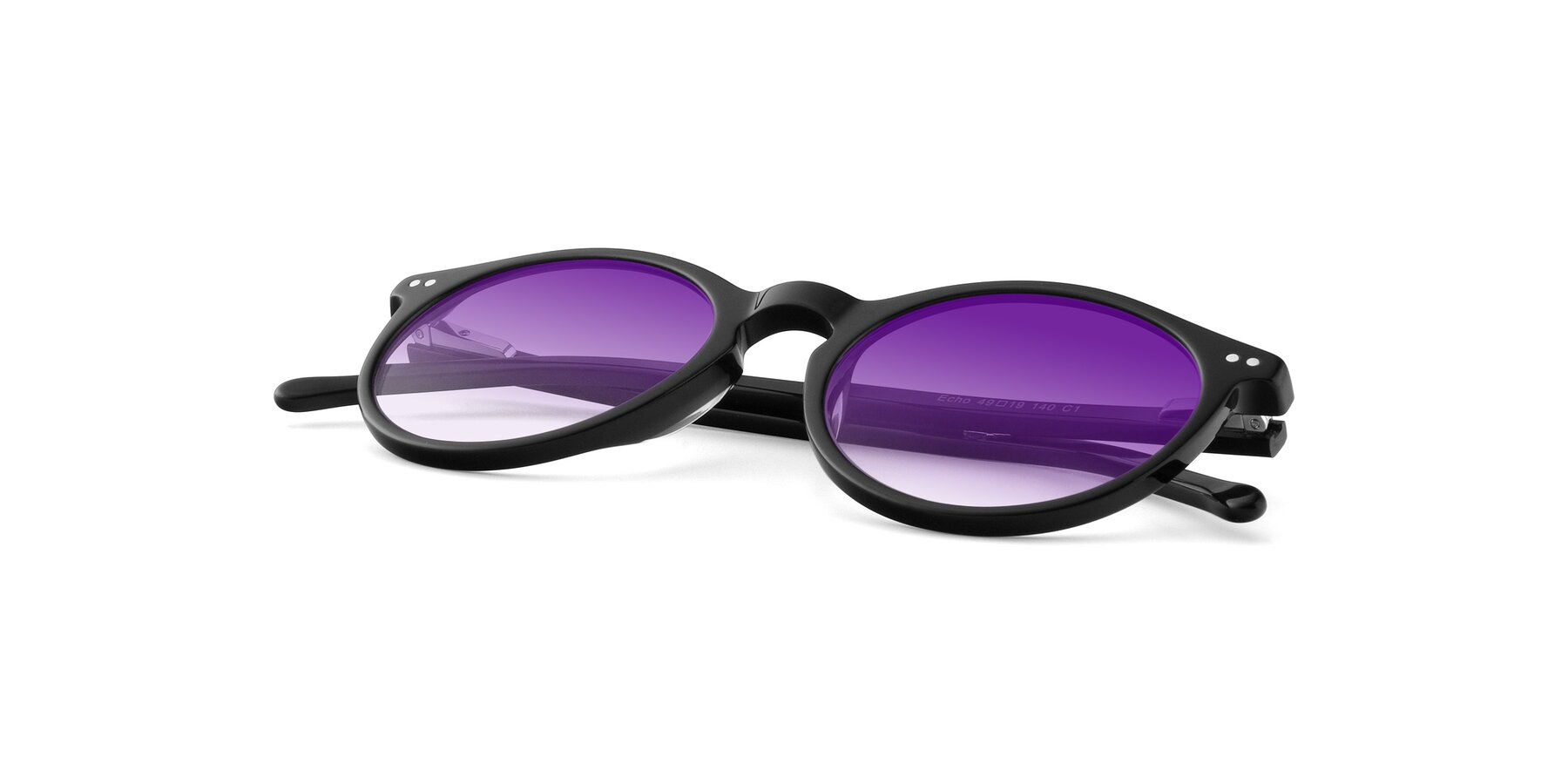 View of JS9026A in Black with Purple Gradient Lenses