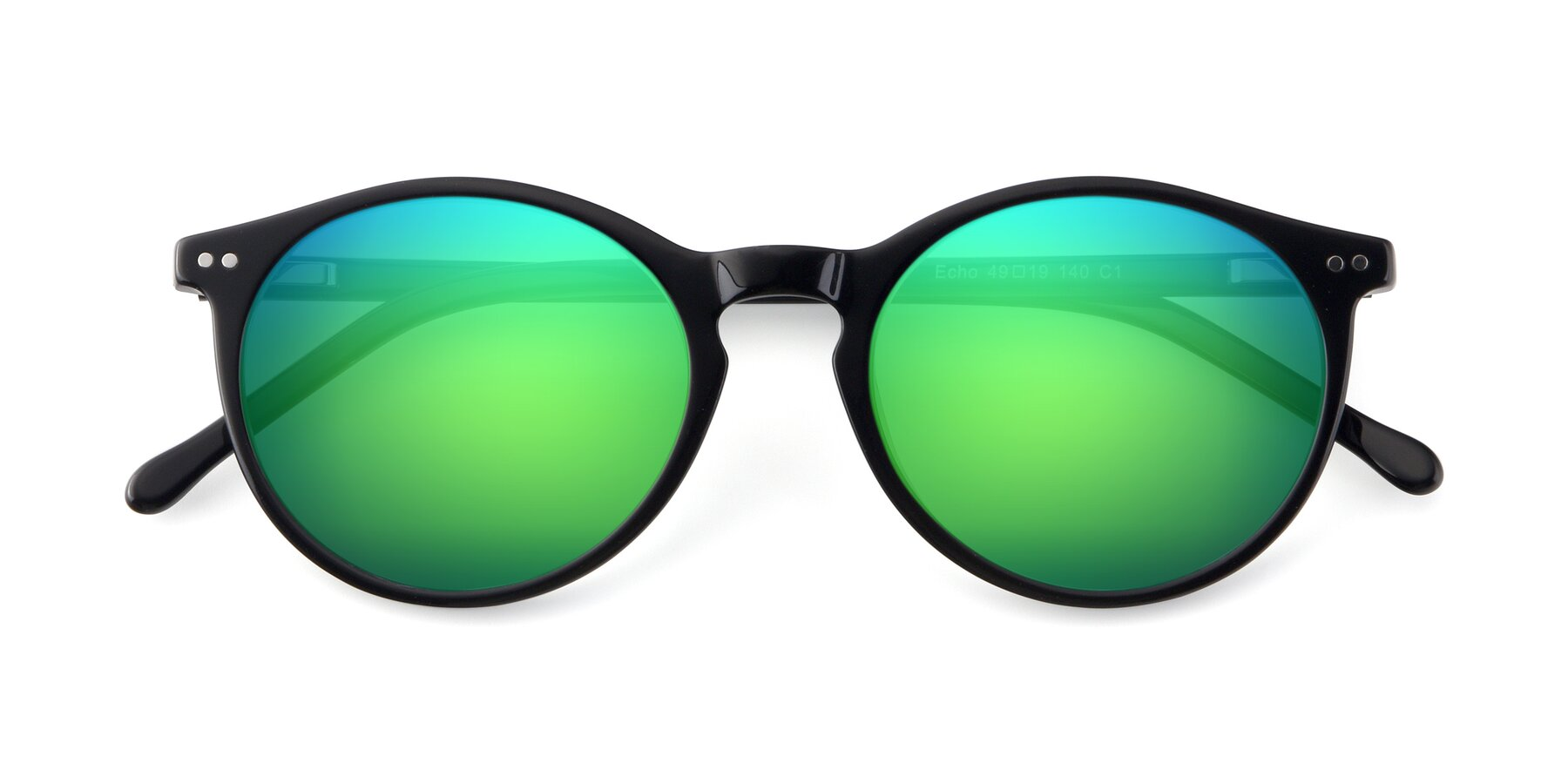 Folded Front of JS9026A in Black with Green Mirrored Lenses