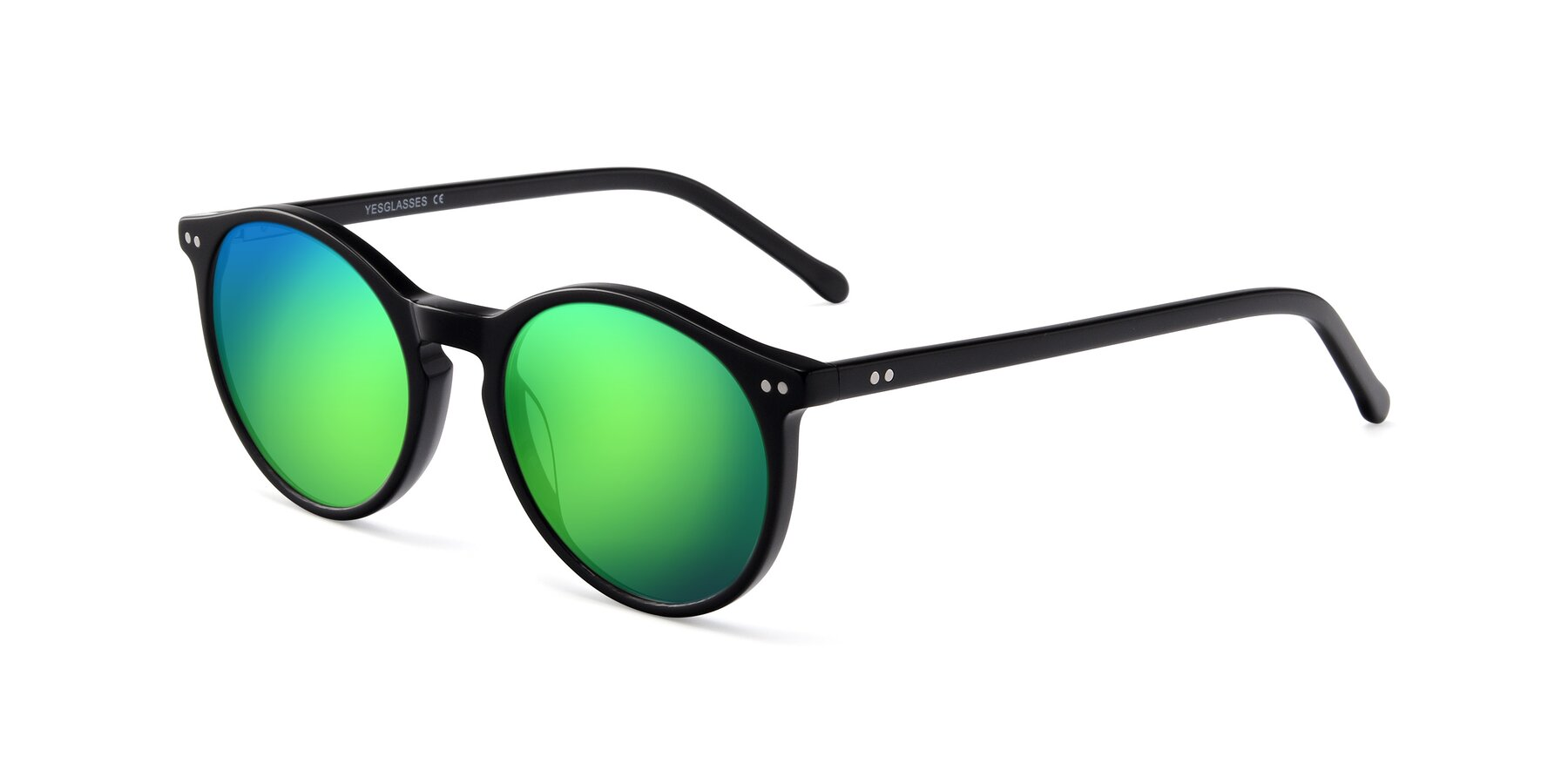 Angle of JS9026A in Black with Green Mirrored Lenses