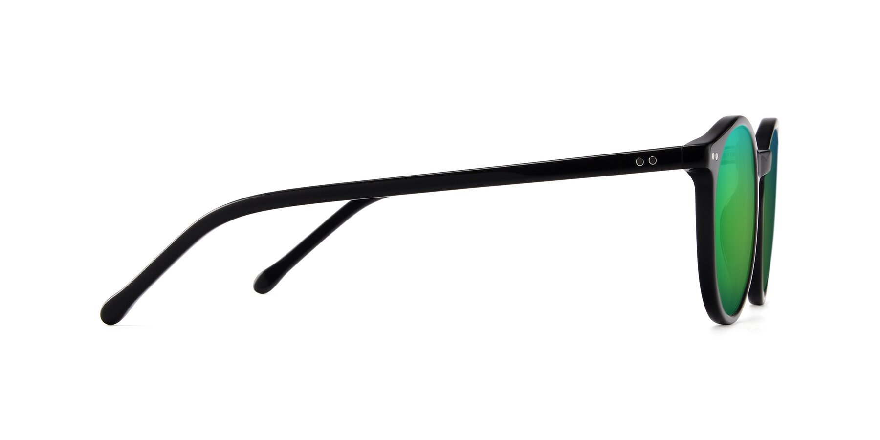 Side of JS9026A in Black with Green Mirrored Lenses