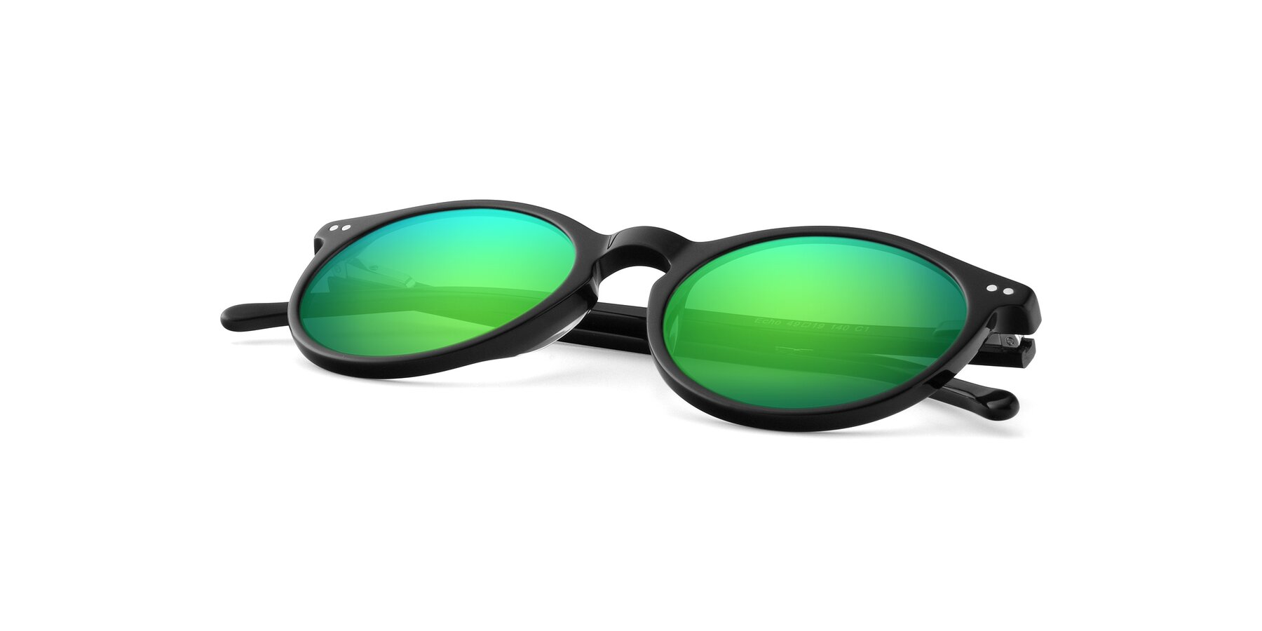 View of JS9026A in Black with Green Mirrored Lenses