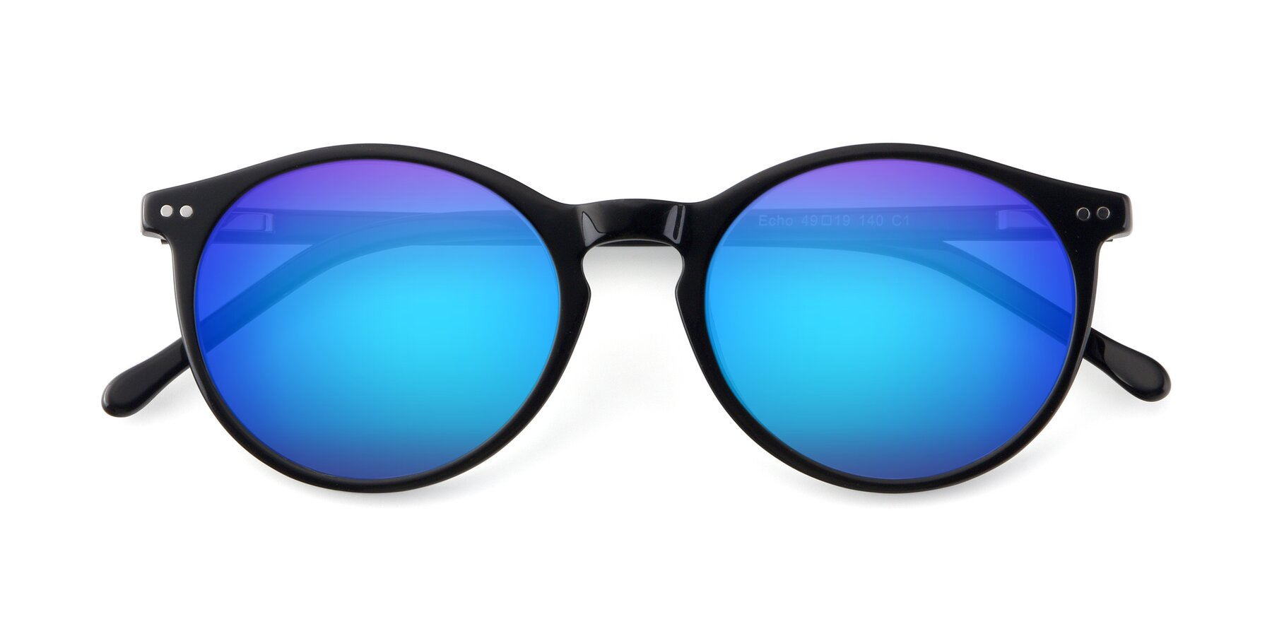 Folded Front of JS9026A in Black with Blue Mirrored Lenses