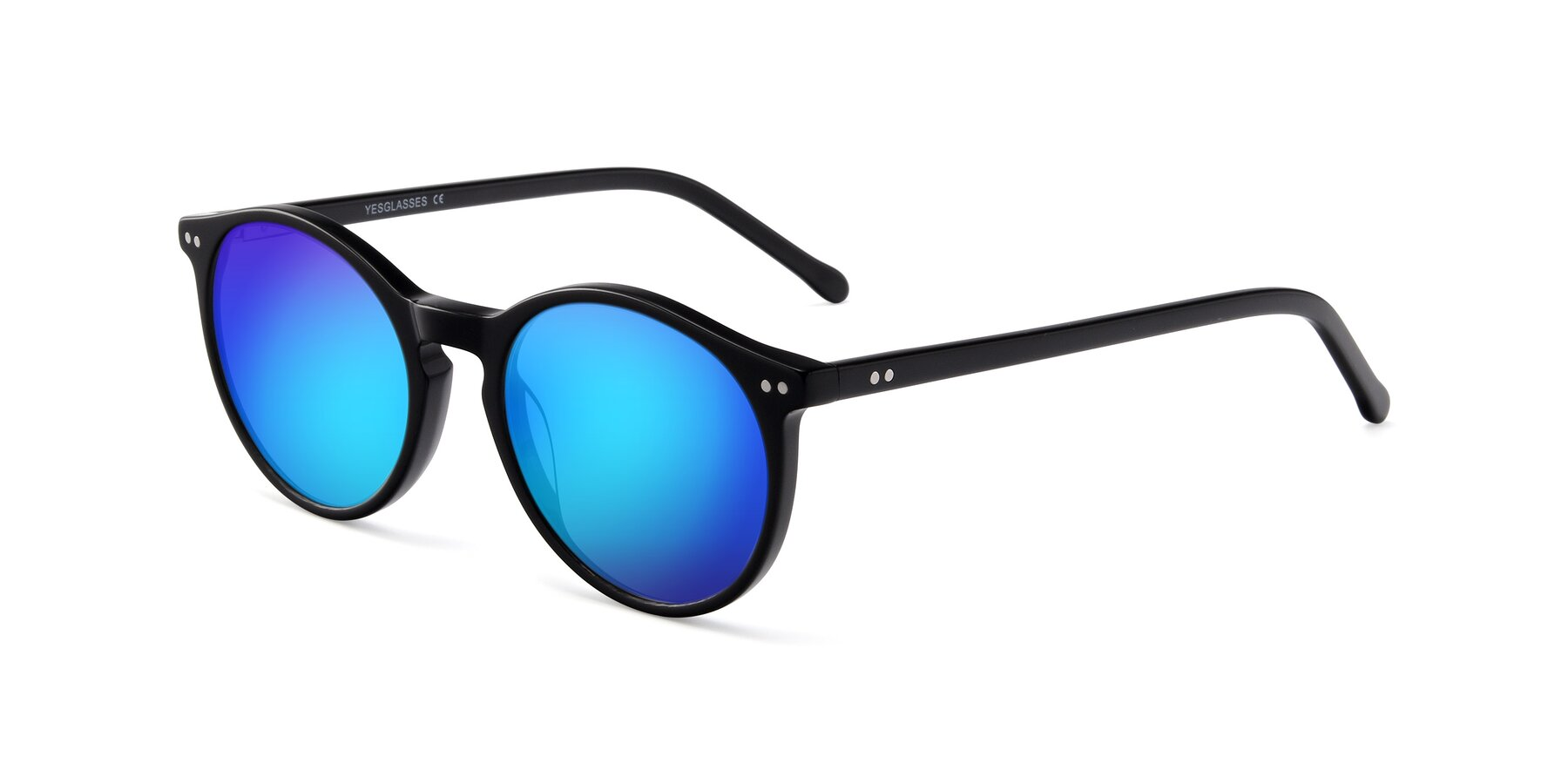 Angle of JS9026A in Black with Blue Mirrored Lenses