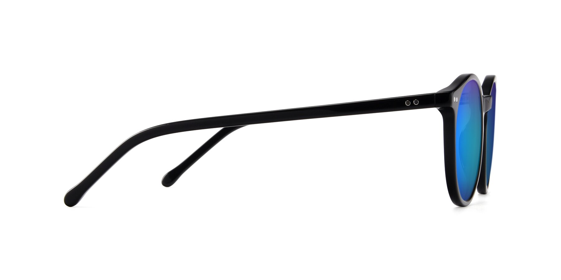 Side of JS9026A in Black with Blue Mirrored Lenses