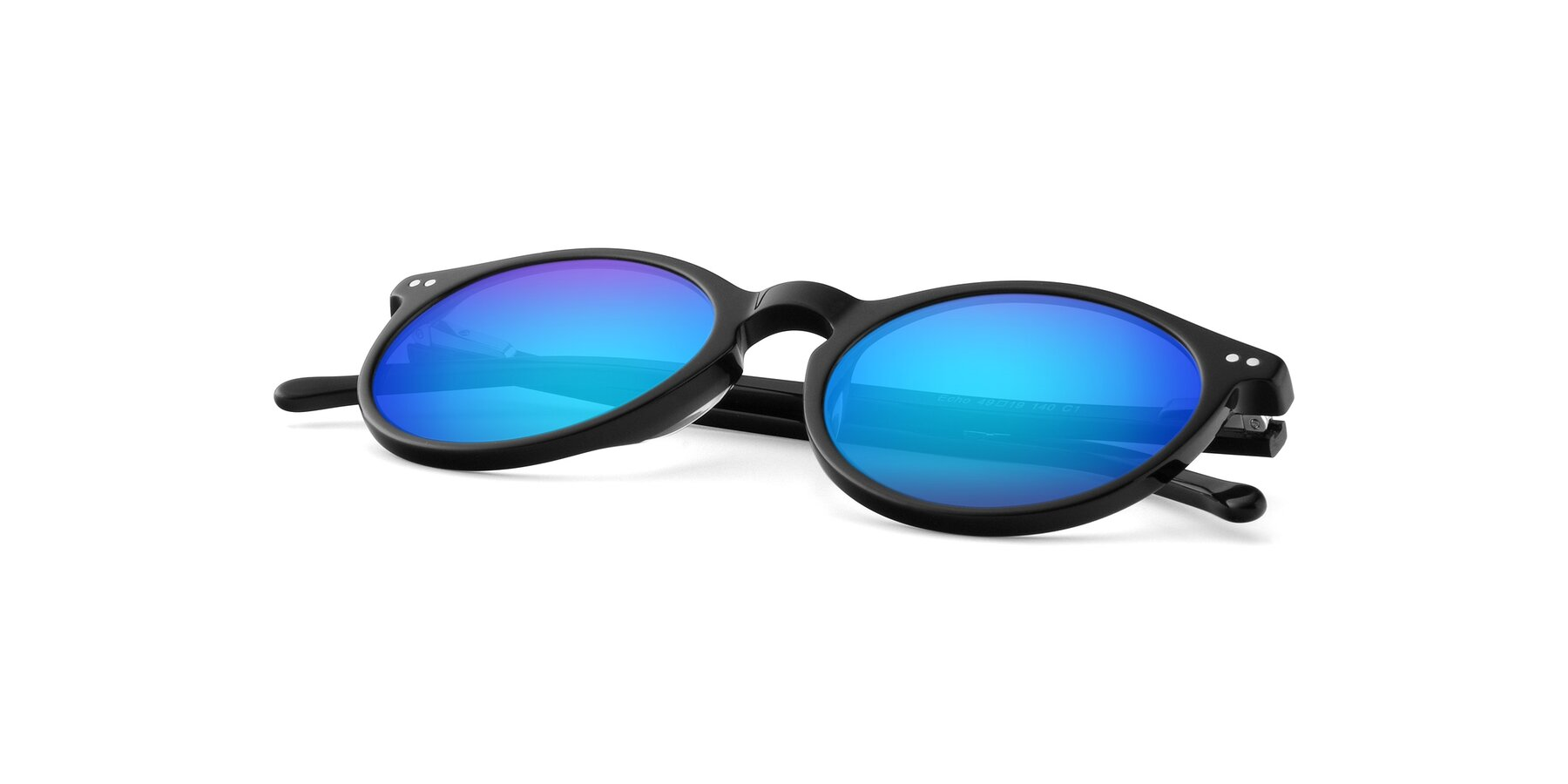 View of JS9026A in Black with Blue Mirrored Lenses