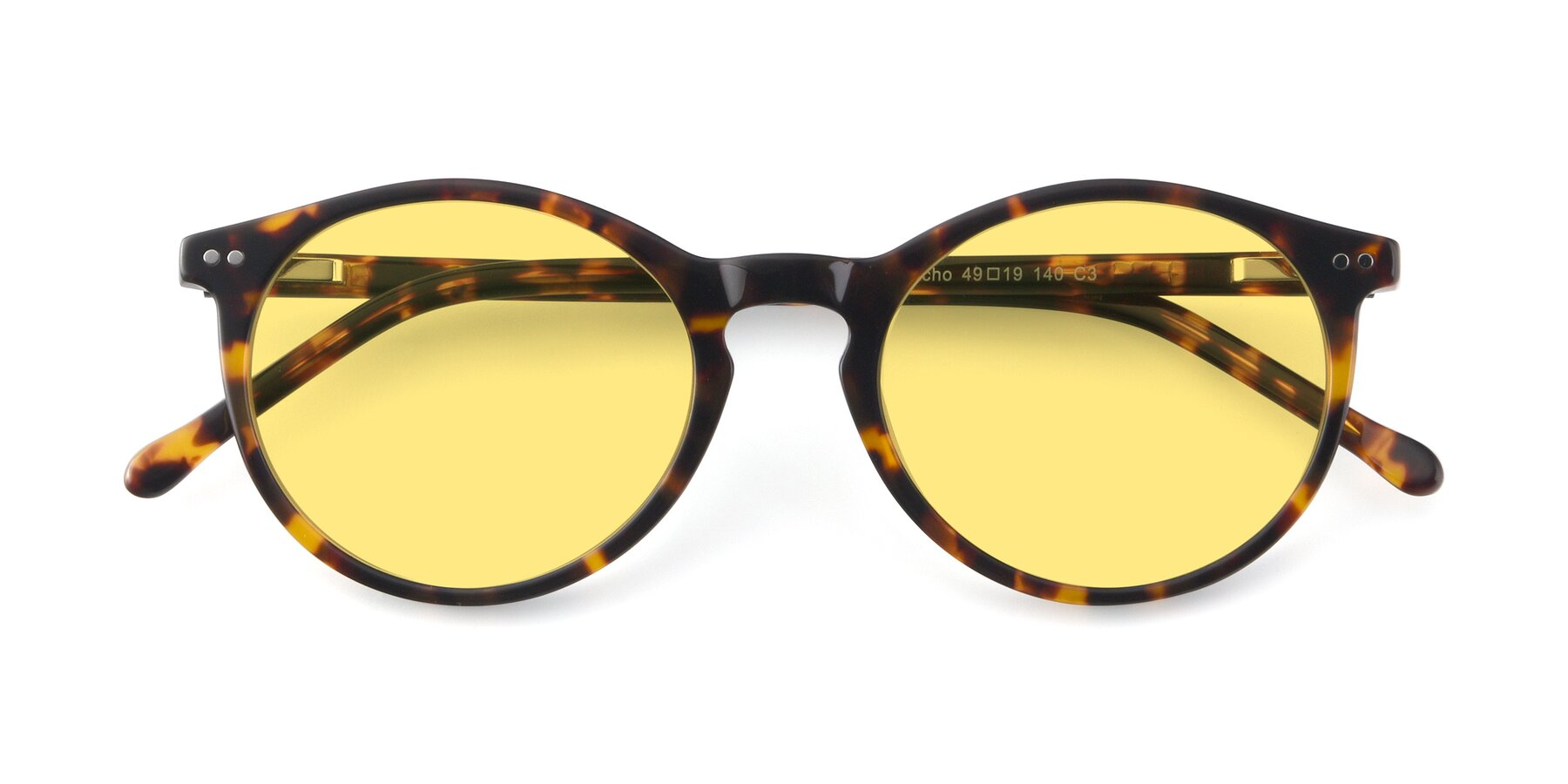 Folded Front of JS9026A in Tortoise with Medium Yellow Tinted Lenses