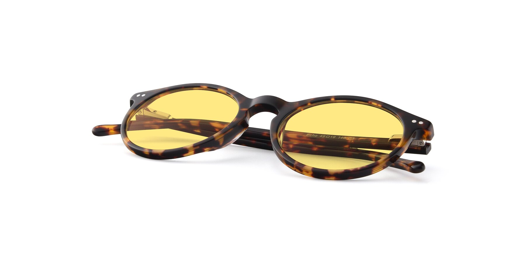 View of JS9026A in Tortoise with Medium Yellow Tinted Lenses