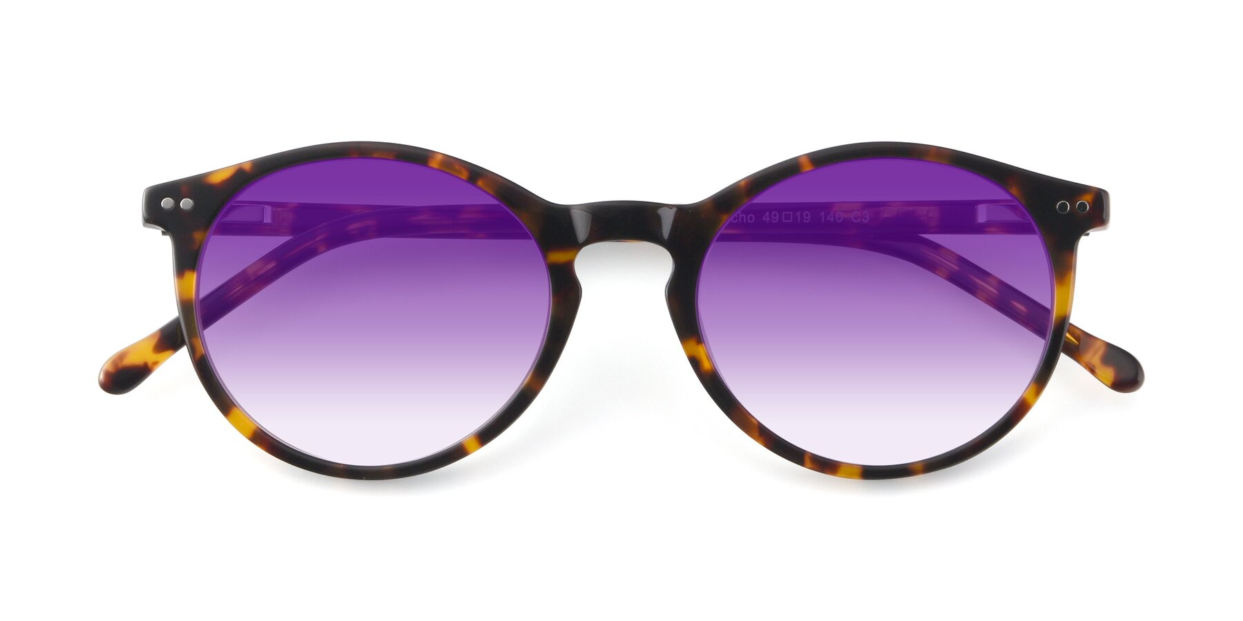 Folded Front of JS9026A in Tortoise with Purple Gradient Lenses