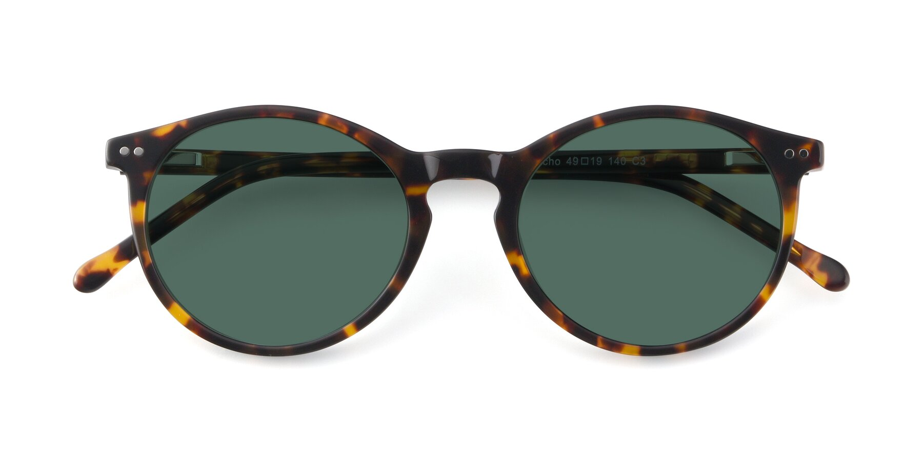 Folded Front of JS9026A in Tortoise with Green Polarized Lenses