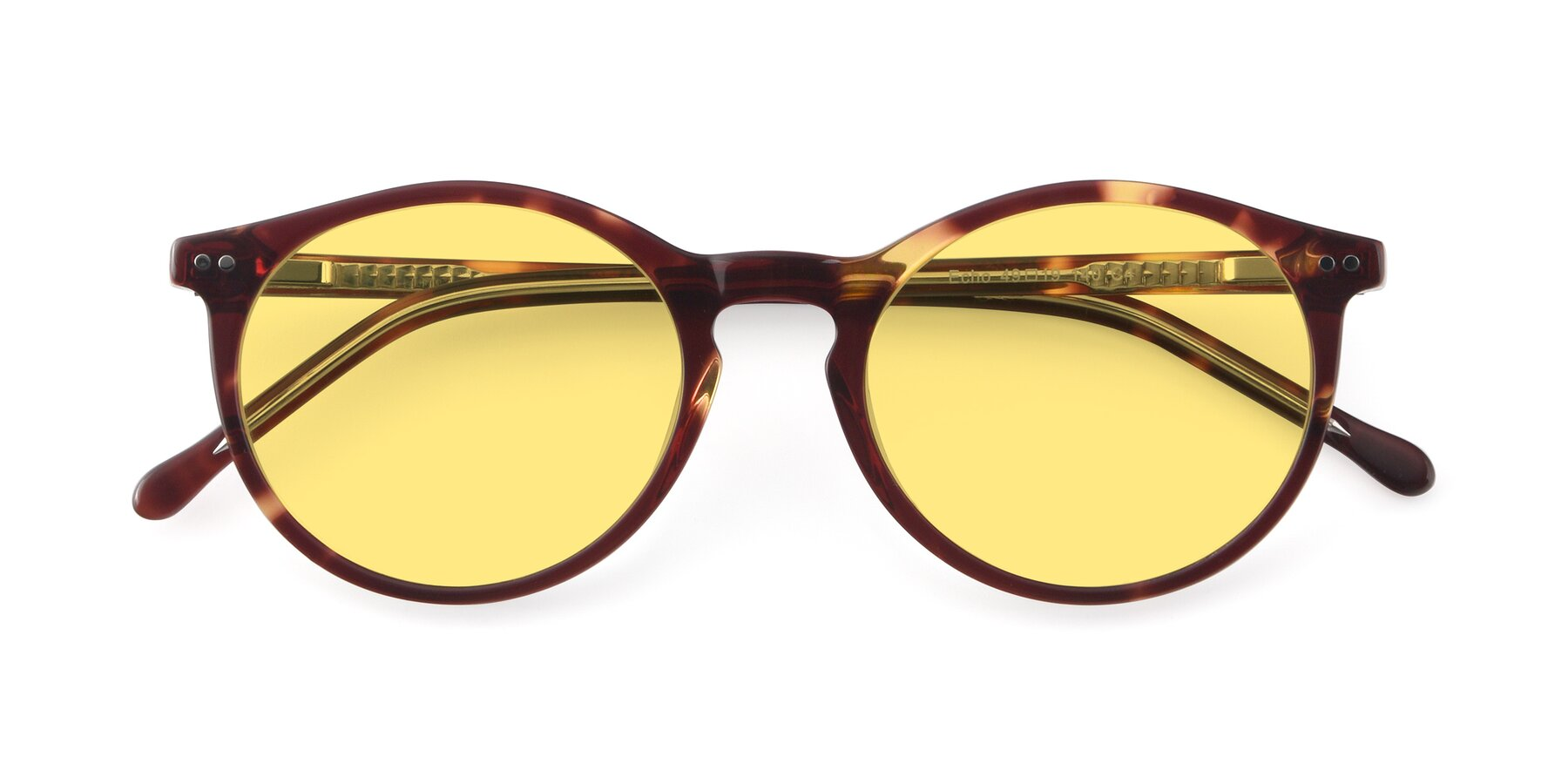 Folded Front of JS9026A in Tortoise-Clear with Medium Yellow Tinted Lenses