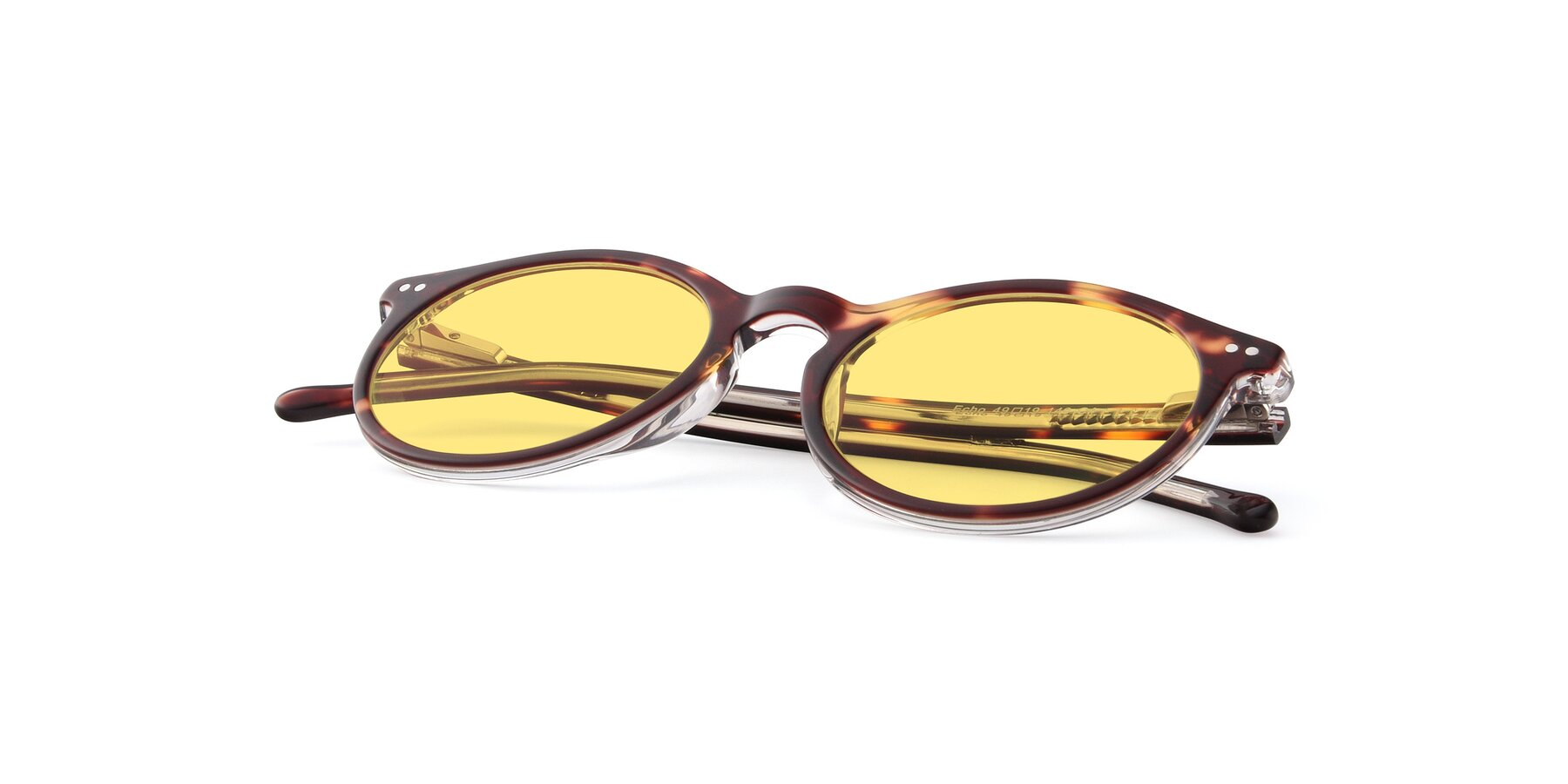 View of JS9026A in Tortoise-Clear with Medium Yellow Tinted Lenses