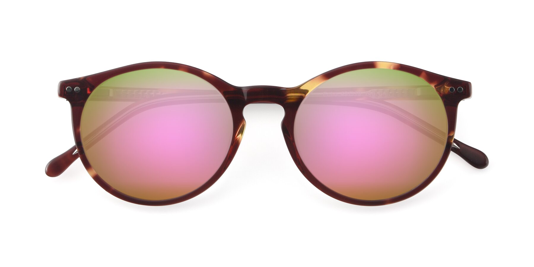 Folded Front of JS9026A in Tortoise-Clear with Pink Mirrored Lenses