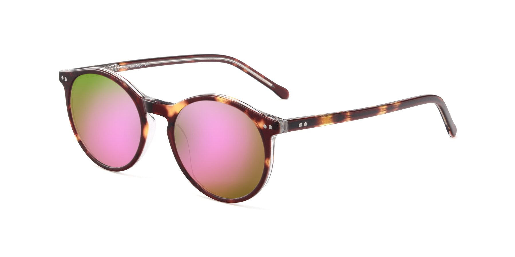 Angle of JS9026A in Tortoise-Clear with Pink Mirrored Lenses