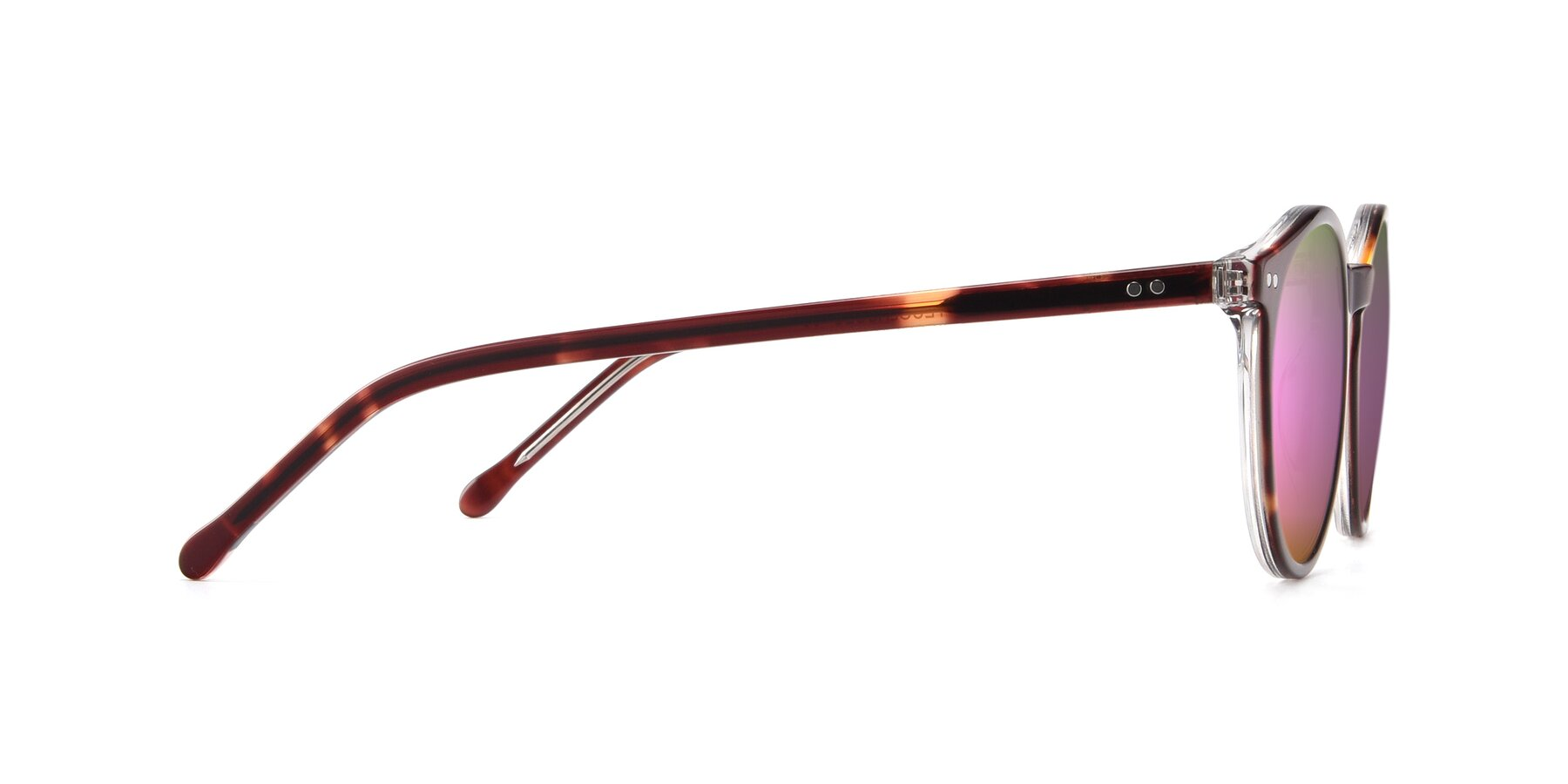 Side of JS9026A in Tortoise-Clear with Pink Mirrored Lenses